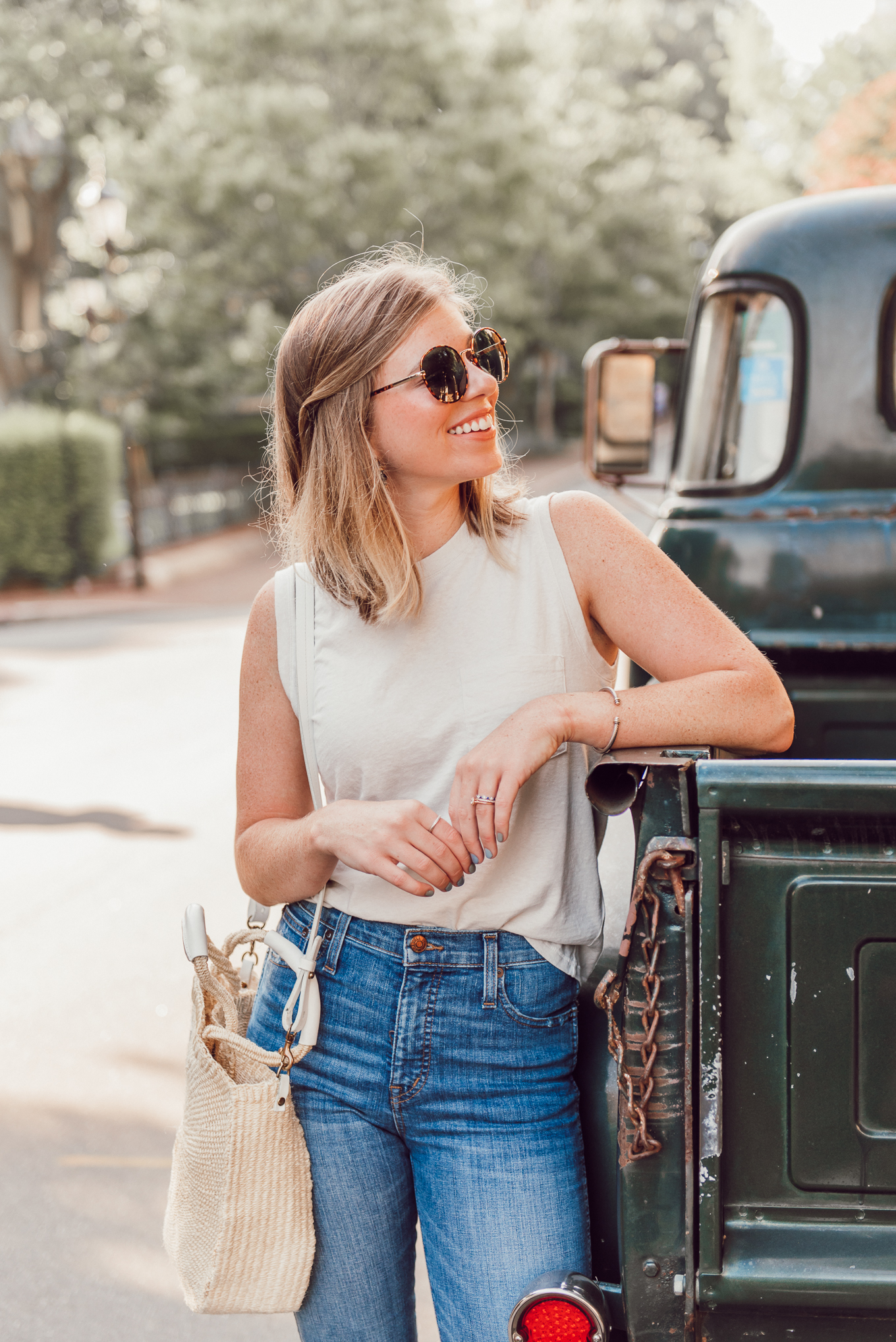 Affordable Summer to Fall Transition Essentials | Casual Outfit Idea | Neutral Tank, High-Rise Skinny Jeans, Clare V. Alice Tote | Louella Reese