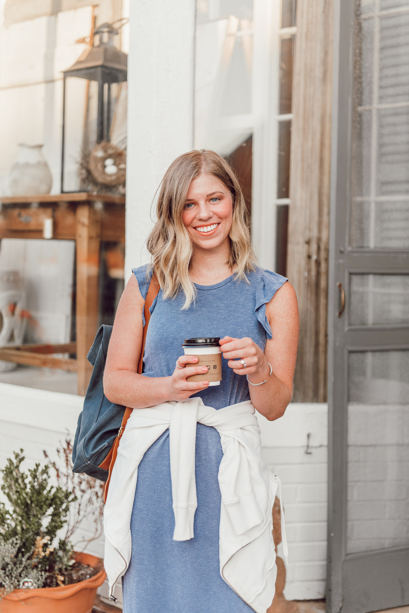Casual Midi Dress, Late Summer Dress to Transition into Fall | Louella Reese