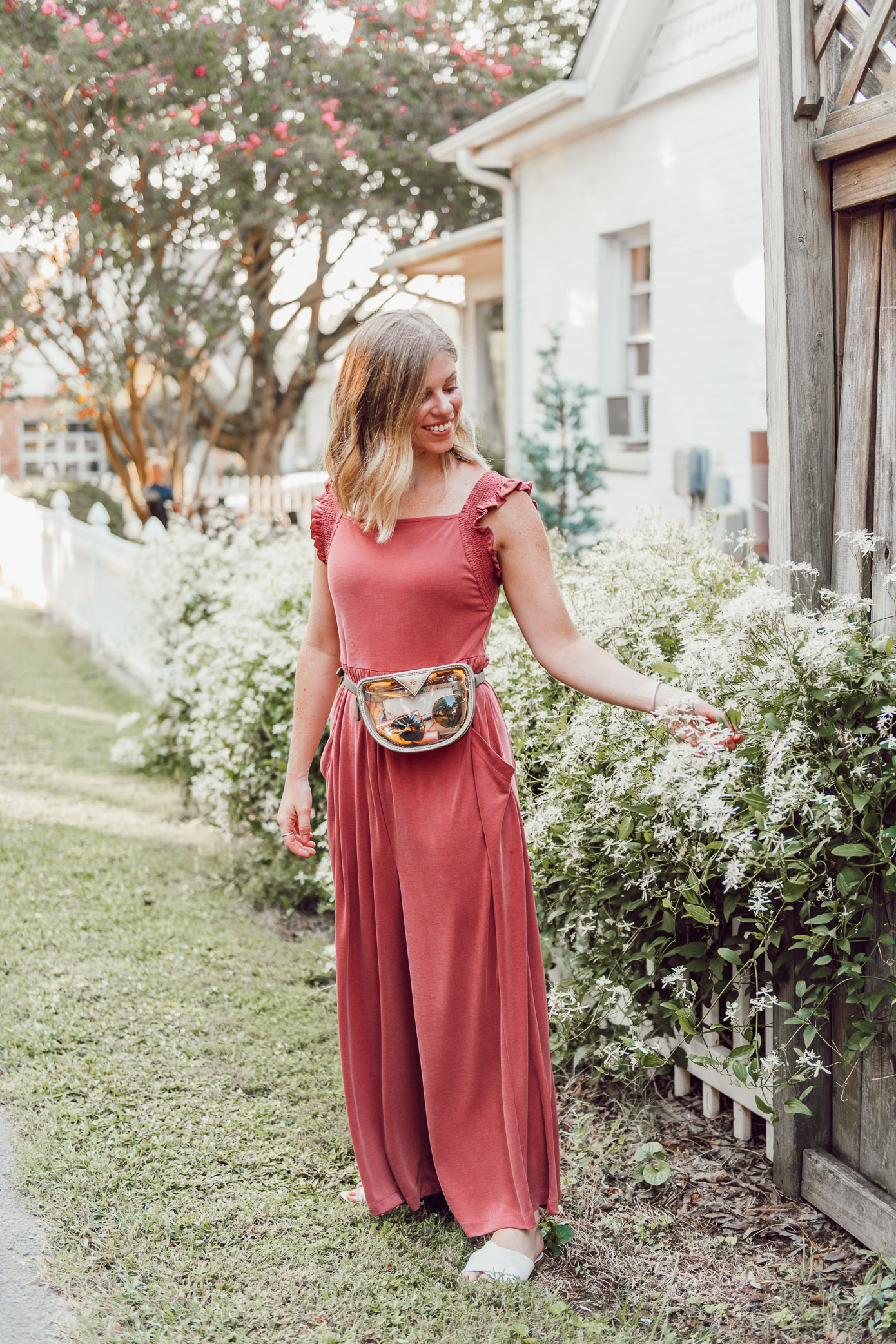 Kicking a Bad Habit and Starting the Day Off in a Good Mood | Terra-cotta Jumpsuit, Jumpsuit for Fall, Clear Belt Bag | Louella Reese