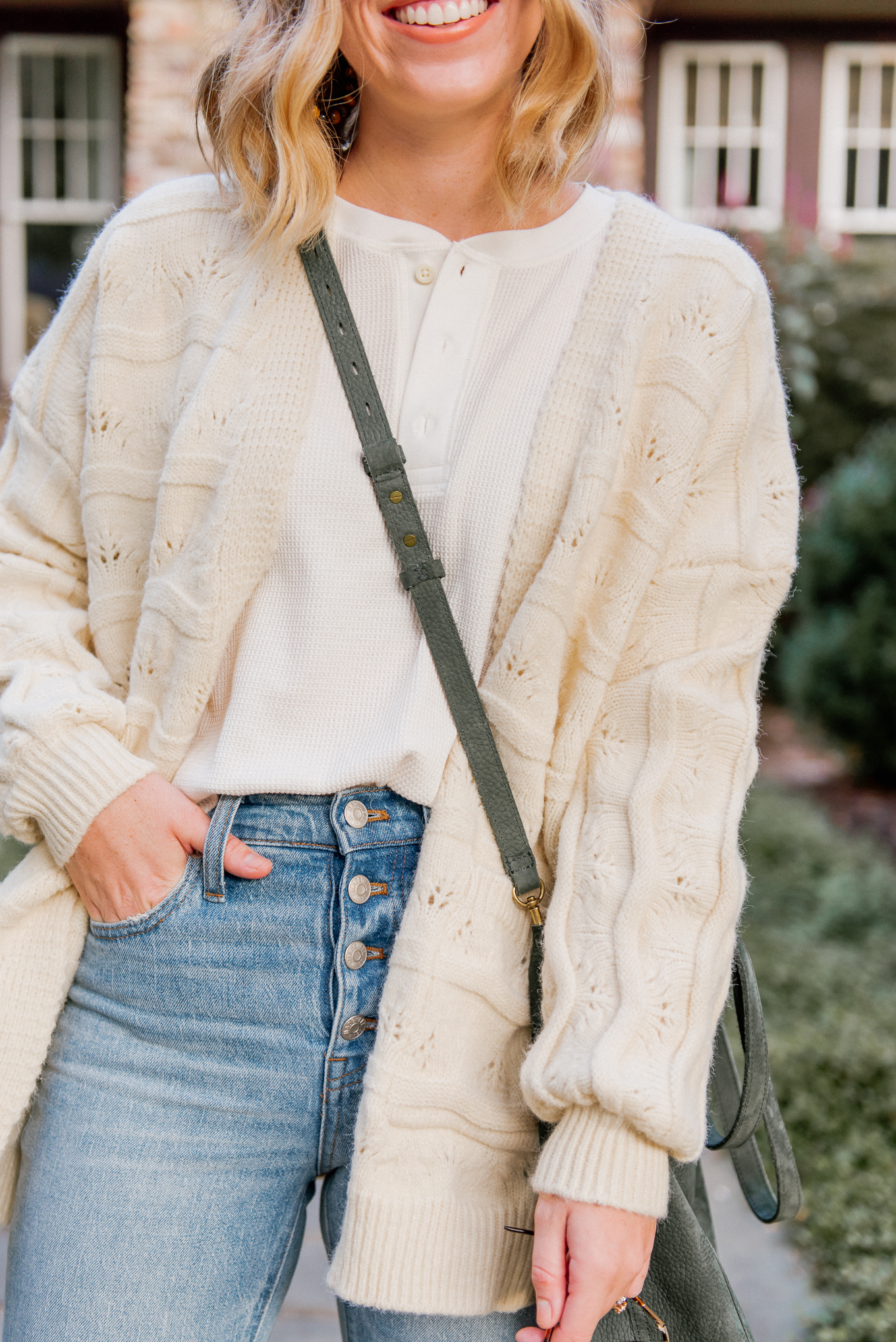 Six Cozy Fall Cardigans | Casual Fall Outfit featuring Ivory Knit Cardigan | Louella Reese