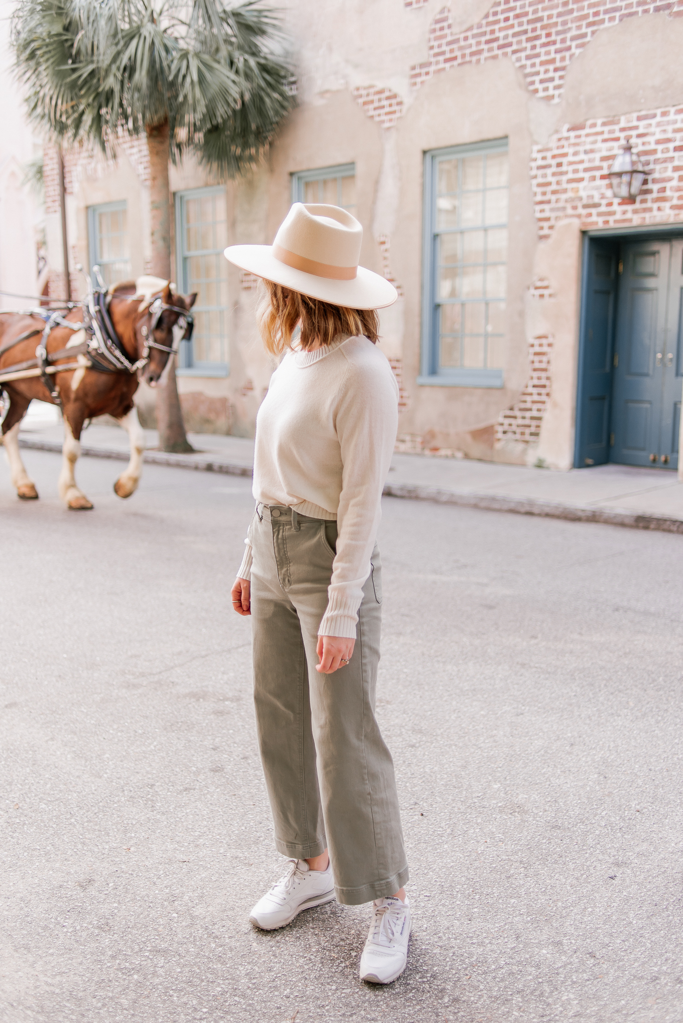 Why You Should Visit Charleston SC in the Fall | $100 Cashmere Sweater, Ivory Wool Hat, Olive Wide Leg Crop Pants | Louella Reese