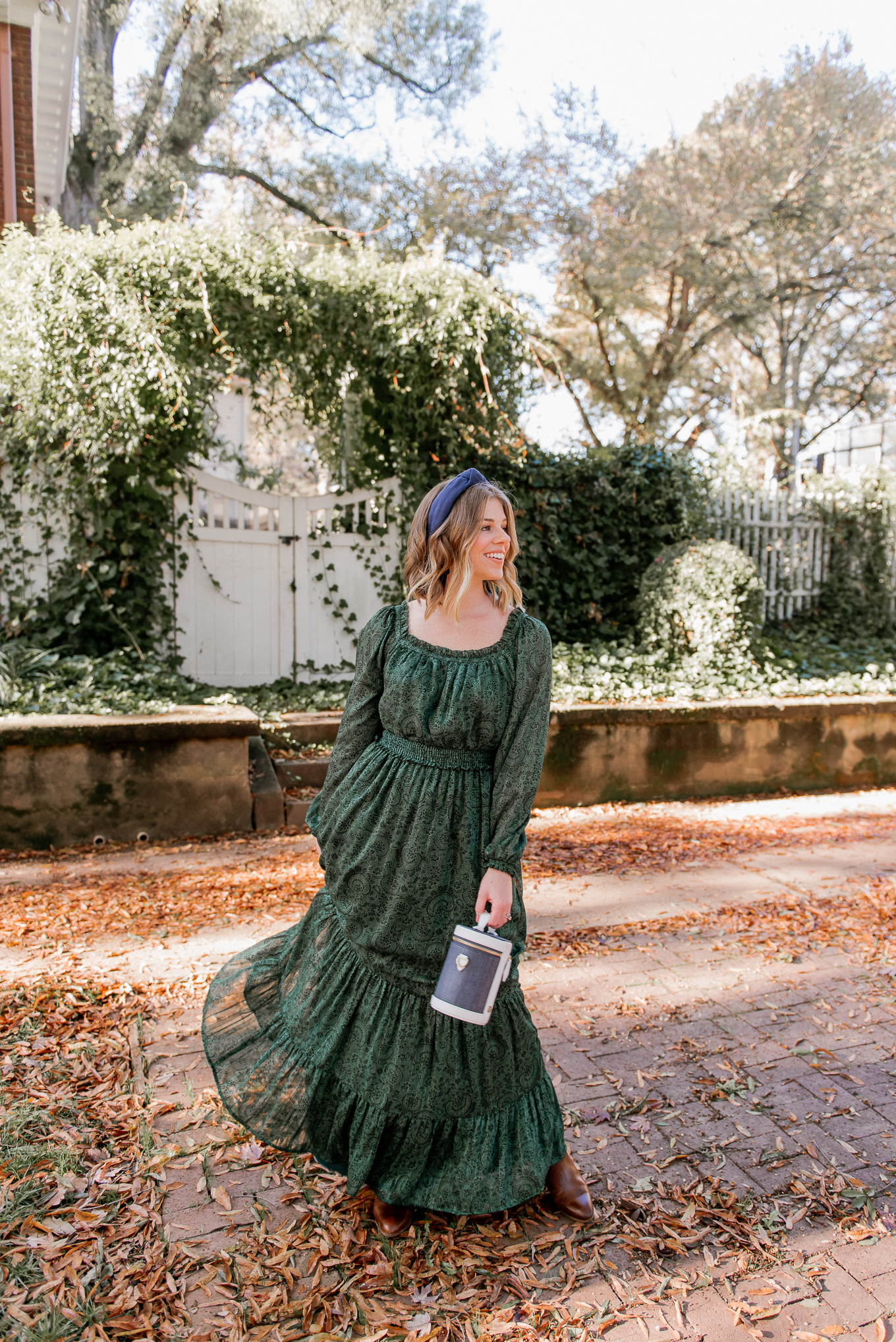 How to Style a Holiday Dress in a Fresh Way | Green Winter Maxi Dress | Louella Reese