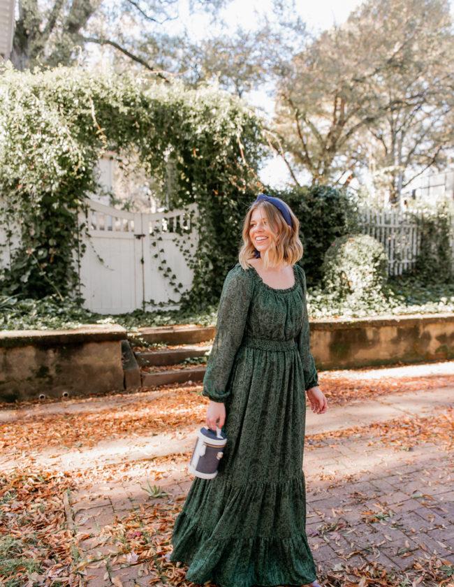 Feminine Holiday Dresses | Green Winter Maxi Dress | Louella Reese