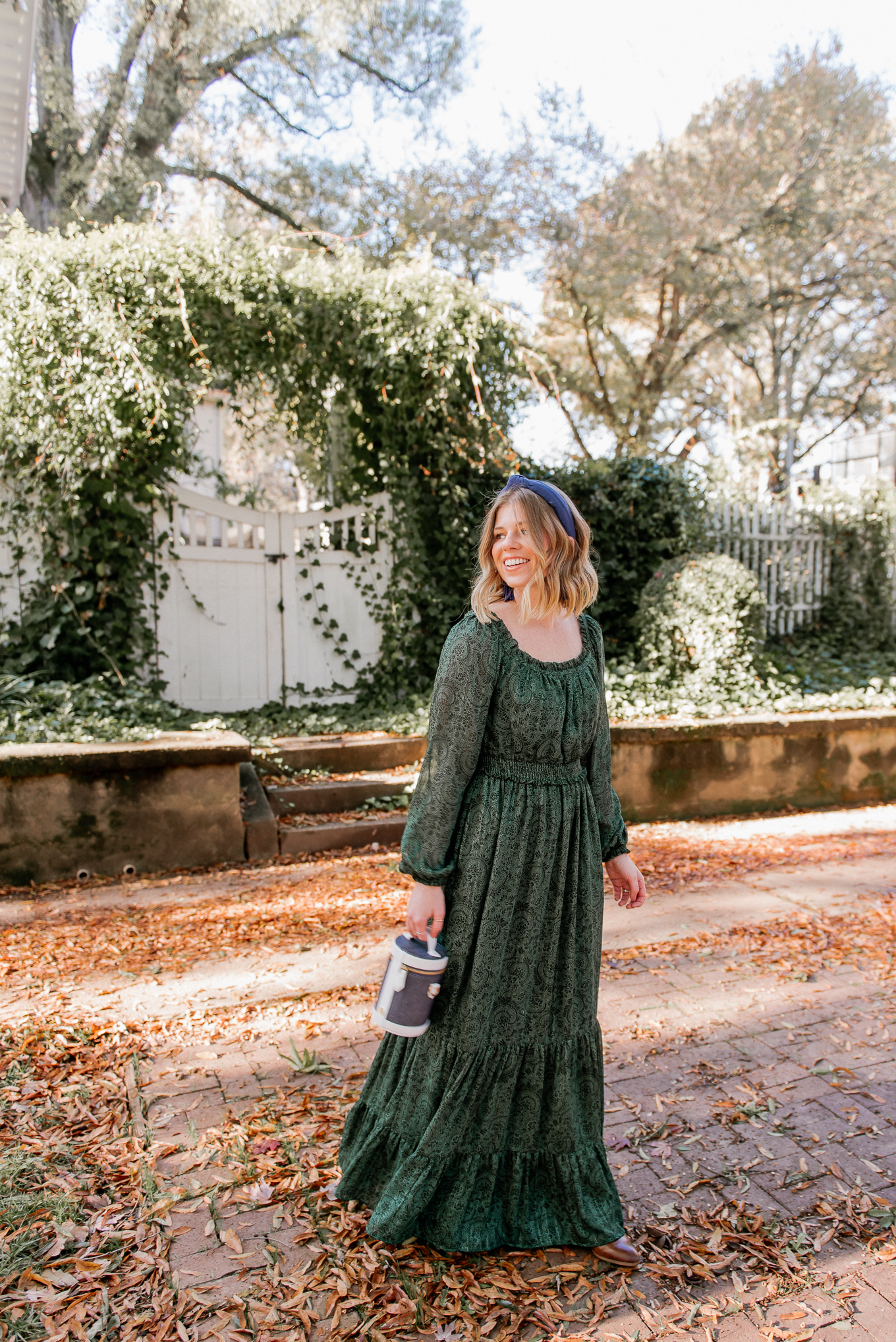 Feminine Holiday Dresses | Green Winter Maxi Dress | Louella Reese