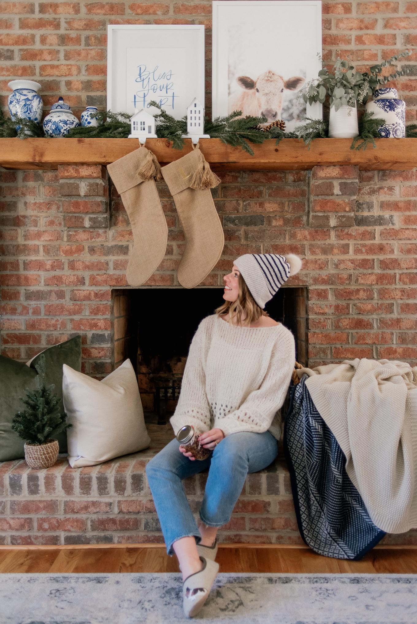 Simple Christmas Mantle Decor   Neutral Christmas Decor   Louella Reese