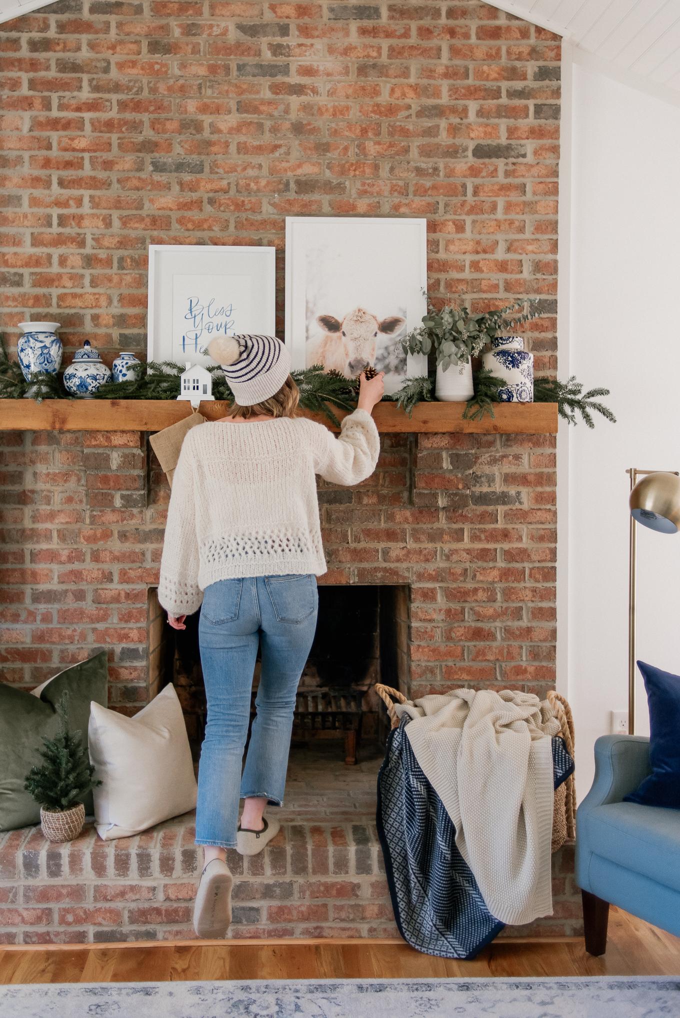 Simple Christmas Mantle Decor | Neutral Christmas Decor | Louella Reese