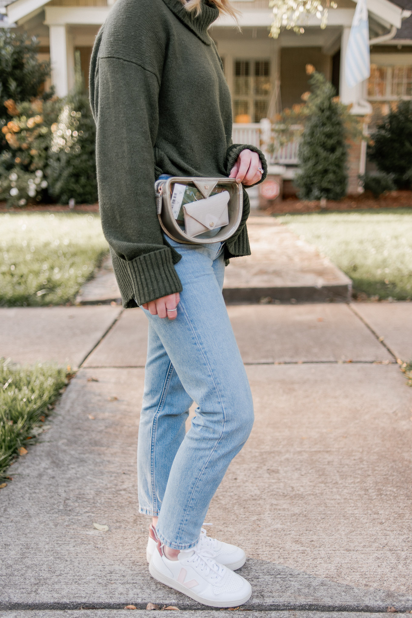 Clear Game Day Belt Bag | Casual Game Day Outfit Idea | Turtleneck Sweater, Demi-Boot Jeans, Veja Sneakers, Lack of Color Wool Hat | Louella Reese
