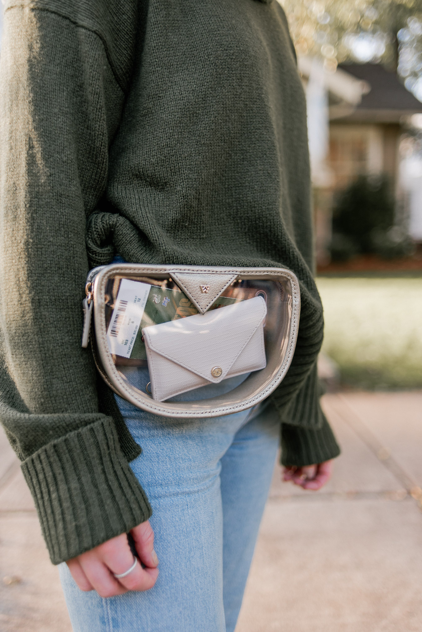 Clear Game Day Belt Bag | Casual Game Day Outfit Idea | Turtleneck Sweater, Demi-Boot Jeans | Louella Reese