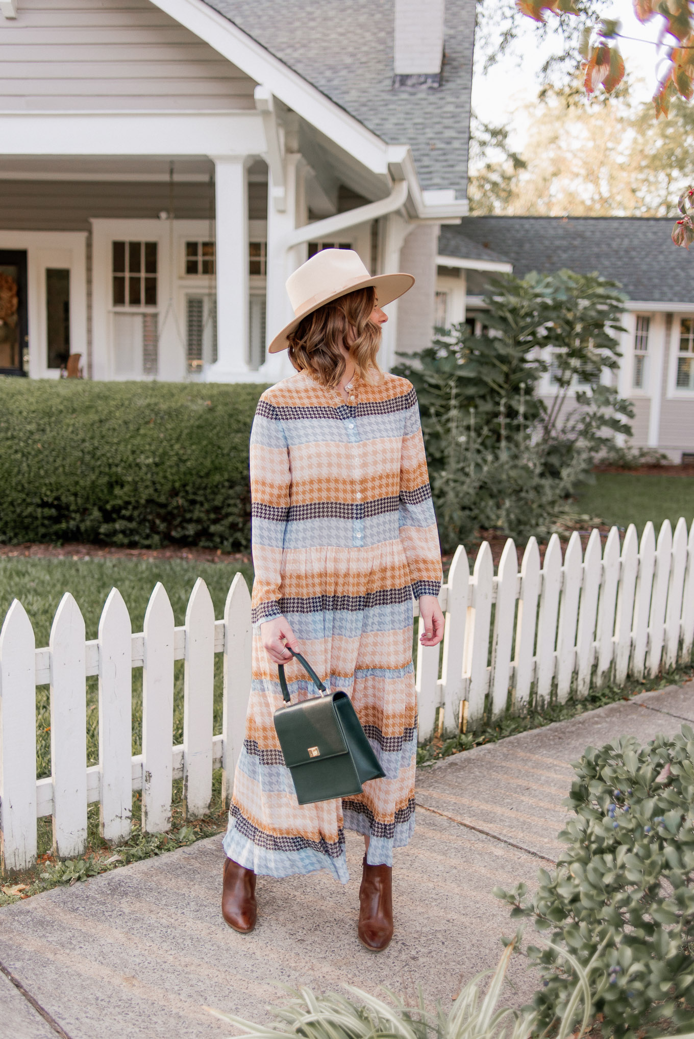 How to Create Mini Capsule Wardrobes | Casual Game Day Outfit Idea | Plaid Midi Dress, Brown Leather Booties, Lack of Color Wool Hat | Louella Reese