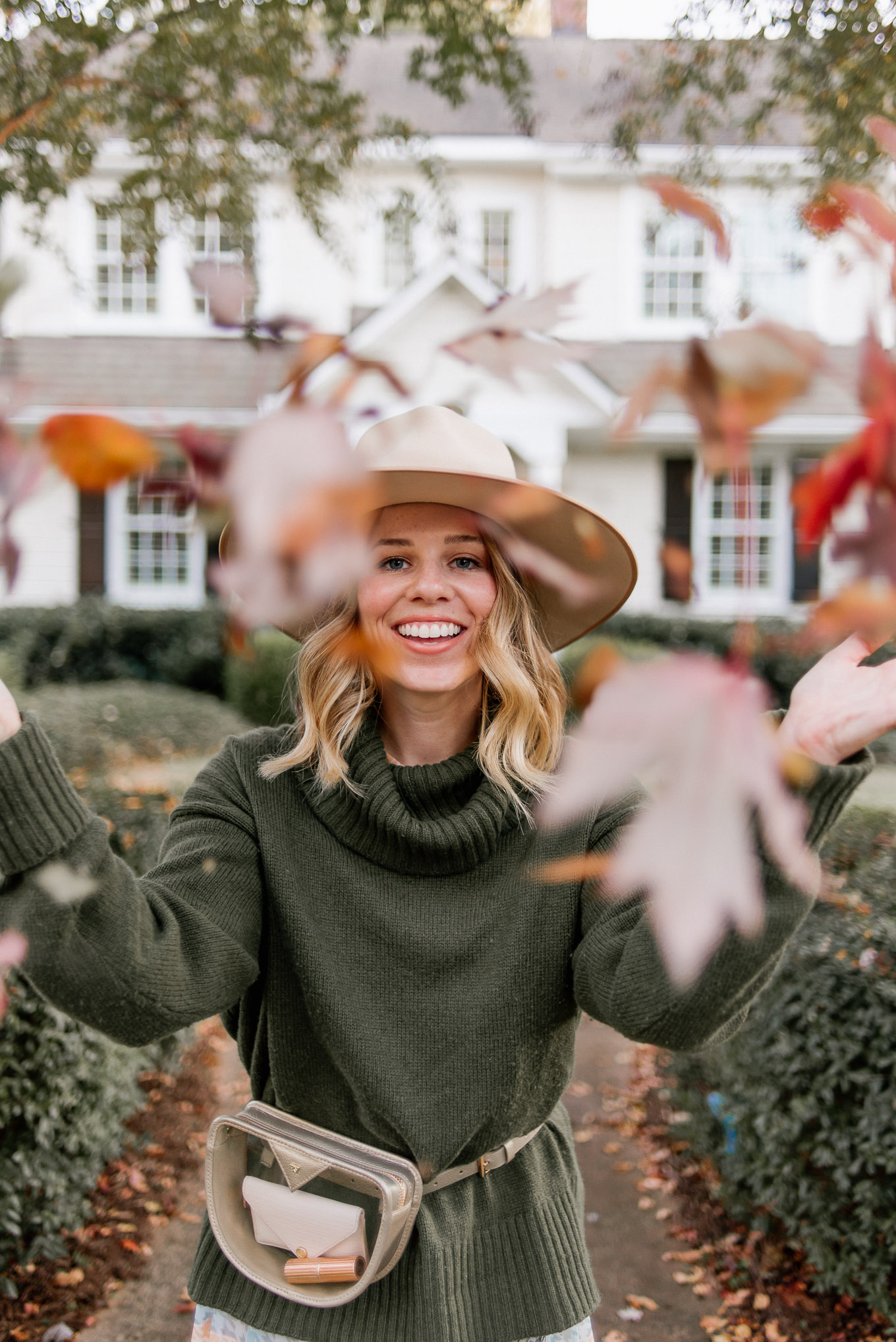 Ultimate Fall Look | Turtleneck Sweater, Plaid Midi Dress, Lack of Color Wool Hat, Metallic Clear Belt Bag | Louella Reese