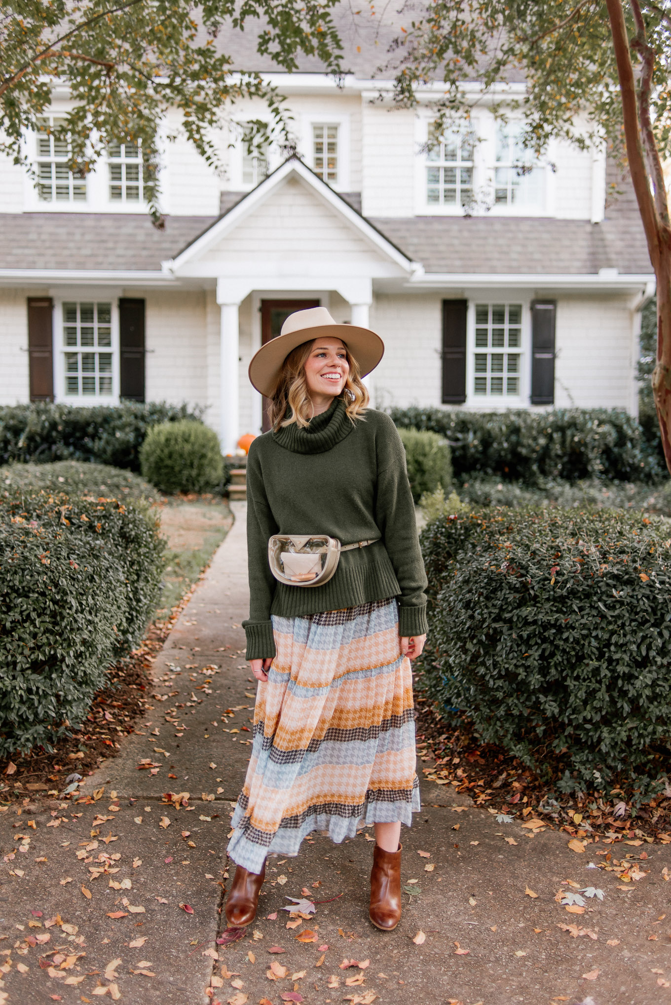 Tips on Creating a Capsule Wardrobe | Clear Game Day Belt Bag | Turtleneck Sweater, Plaid Midi Dress, Cognac Leather Booties, Lack of Color Wool Hat, Metallic Clear Belt Bag | Louella Reese