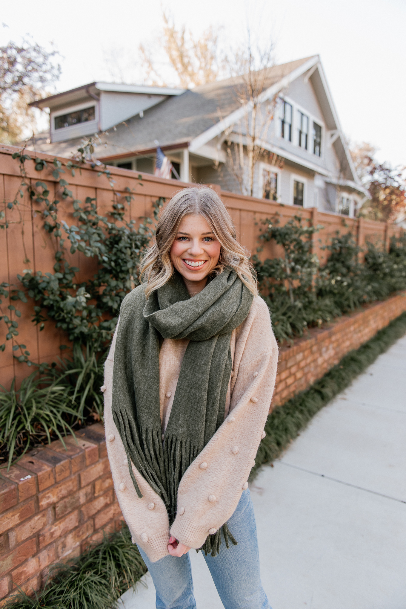 Olive Oversized Scarf, Pom-Pom Sweater | Casual Winter Outfit | Louella Reese