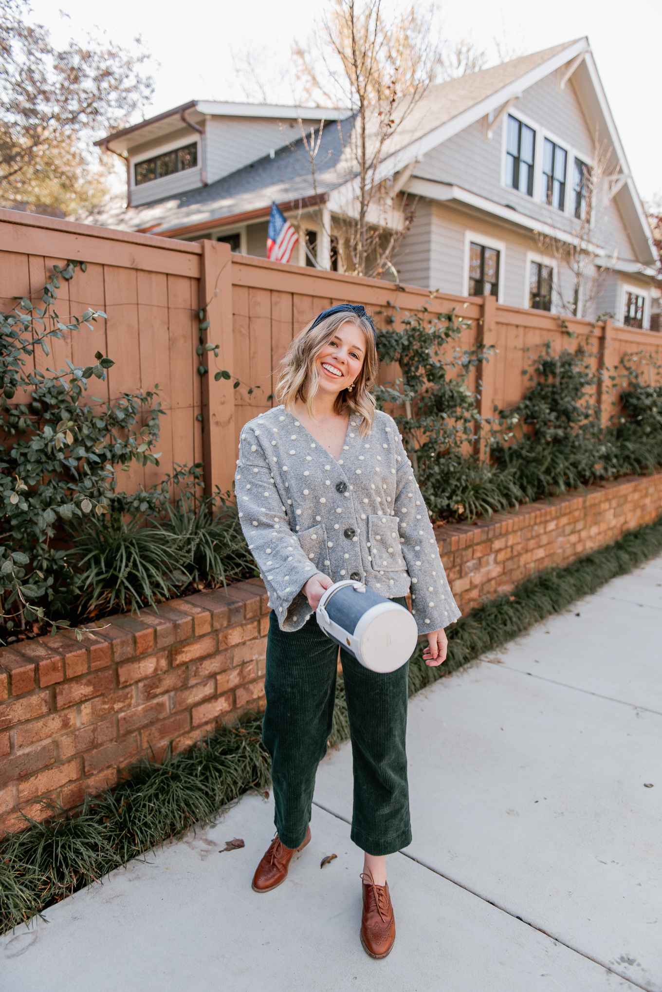 Polka Dot Sweater, Corduroy Wide Leg Crop Pants, Cognac Oxfords, Capsule Bag | Casual Winter to Spring Outfit Idea | Louella Reese