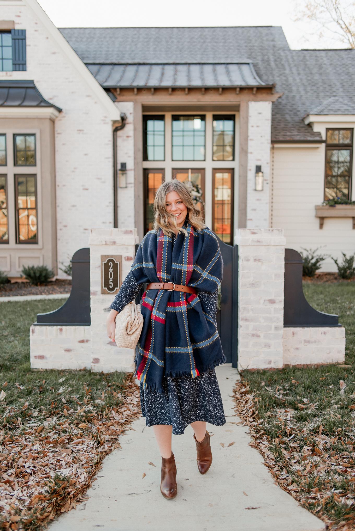 Winter Dresses | Navy Shirtdress, Midi Dress, Navy Blanket Scarf, BOTTEGA VENETA dupe #dupes #winterdresses #winterstyle