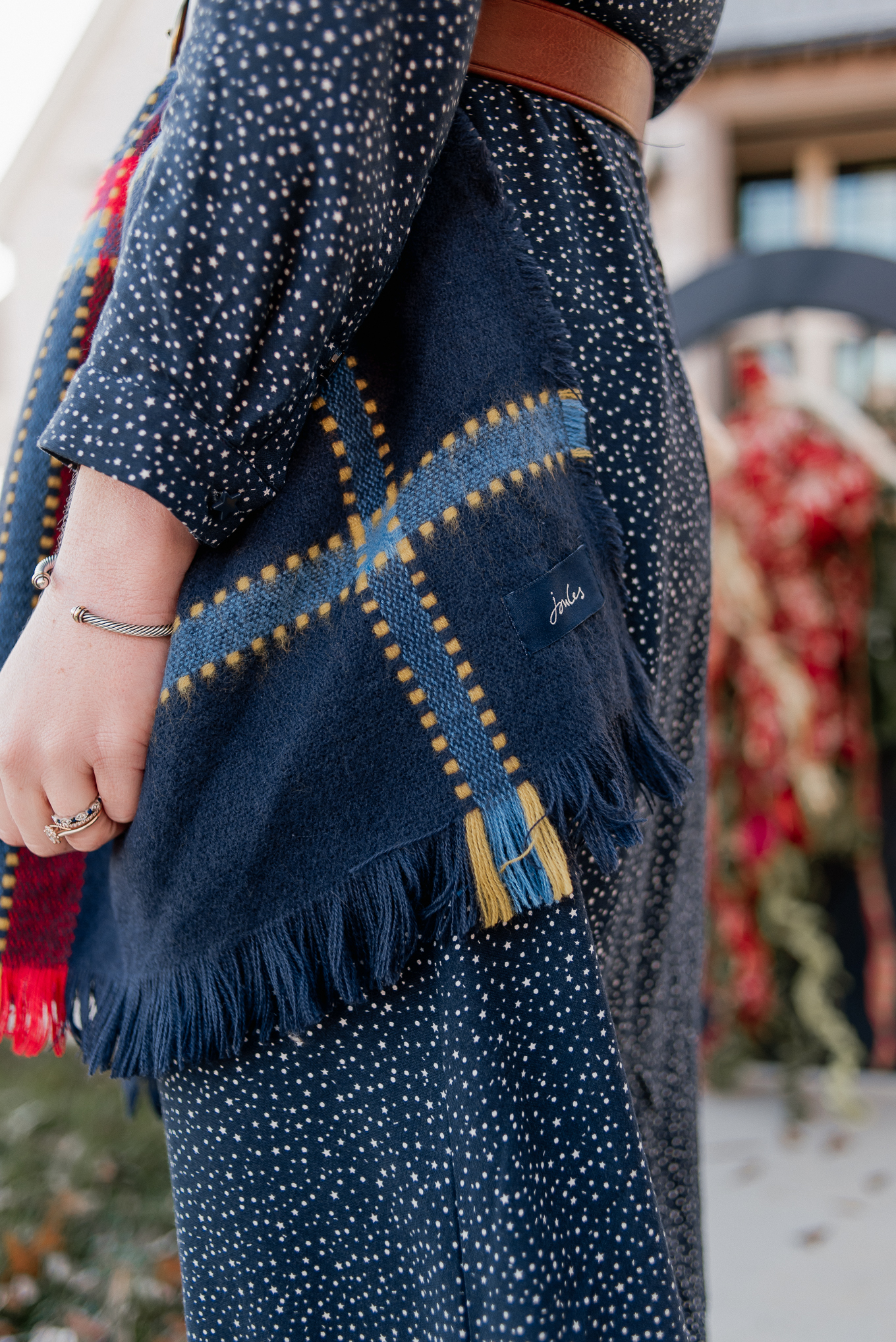 Navy Check Oversized Scarf | Winter Accessories | Louella Reese