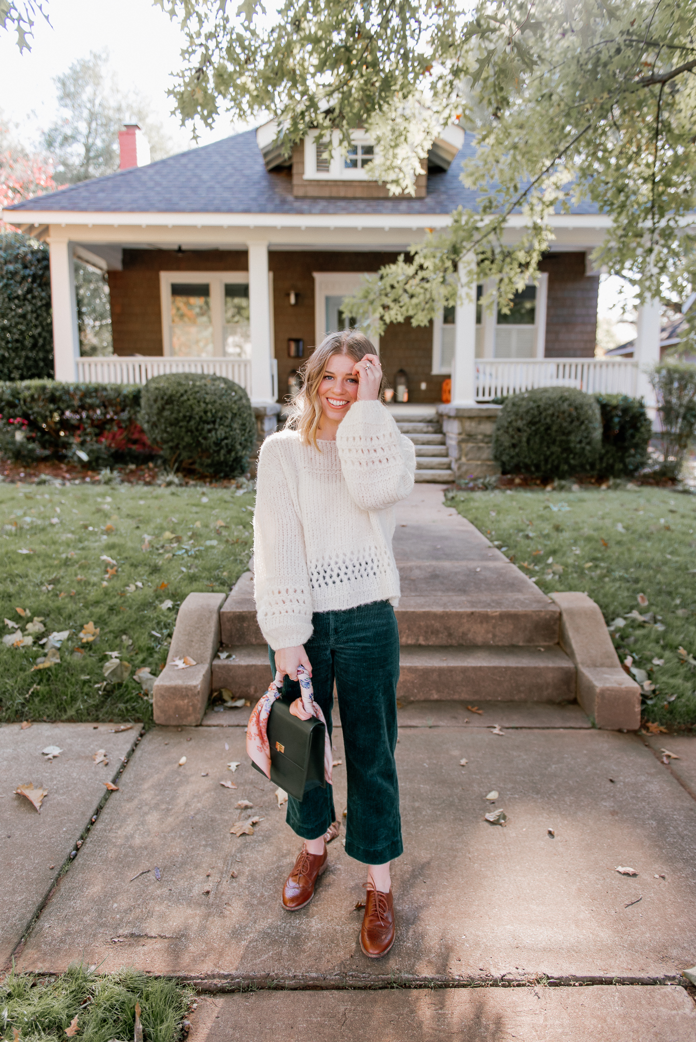 Alpaca Sweater, Wide-Leg Crop Corduroy Pants, Cognac Oxfords, Cropped Sweater | How to Style Corduorys | Louella Reese