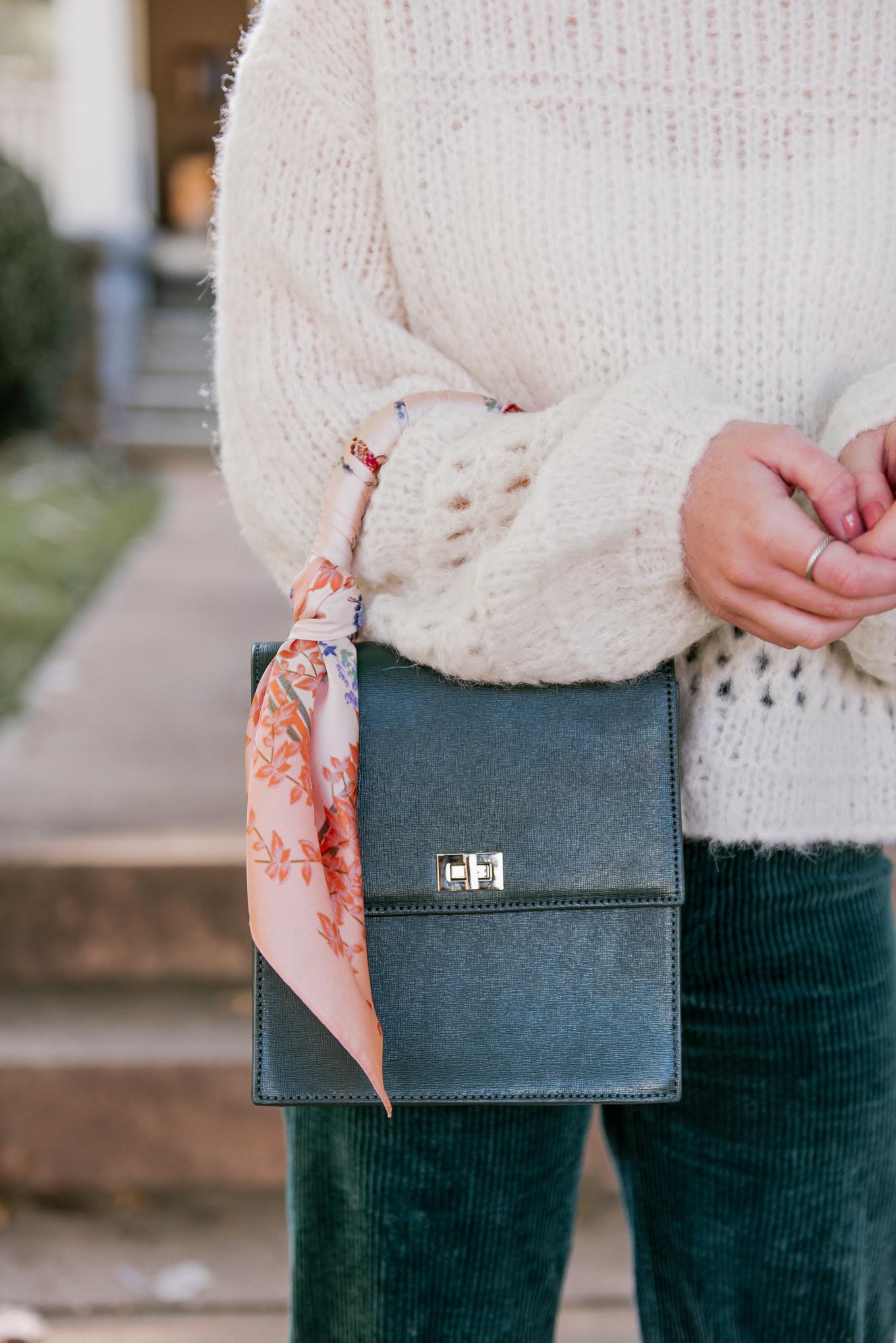 Ladylike Handbags, Top Handle Handbag | How to Style a Scarf on your Handbag | Louella Reese