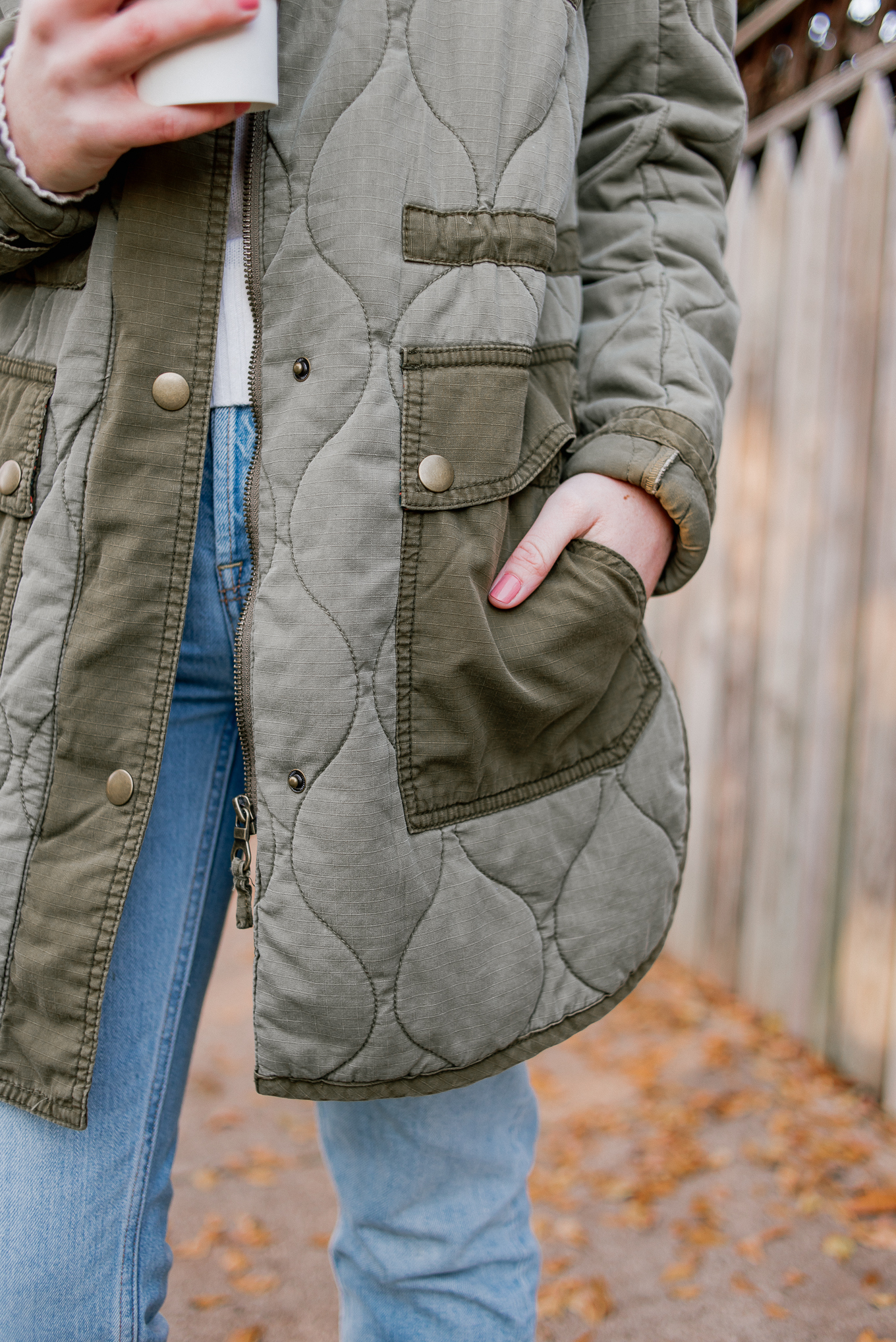 Laura Leigh of Louella Reese styles a quilted field jacket for a casual winter outfit