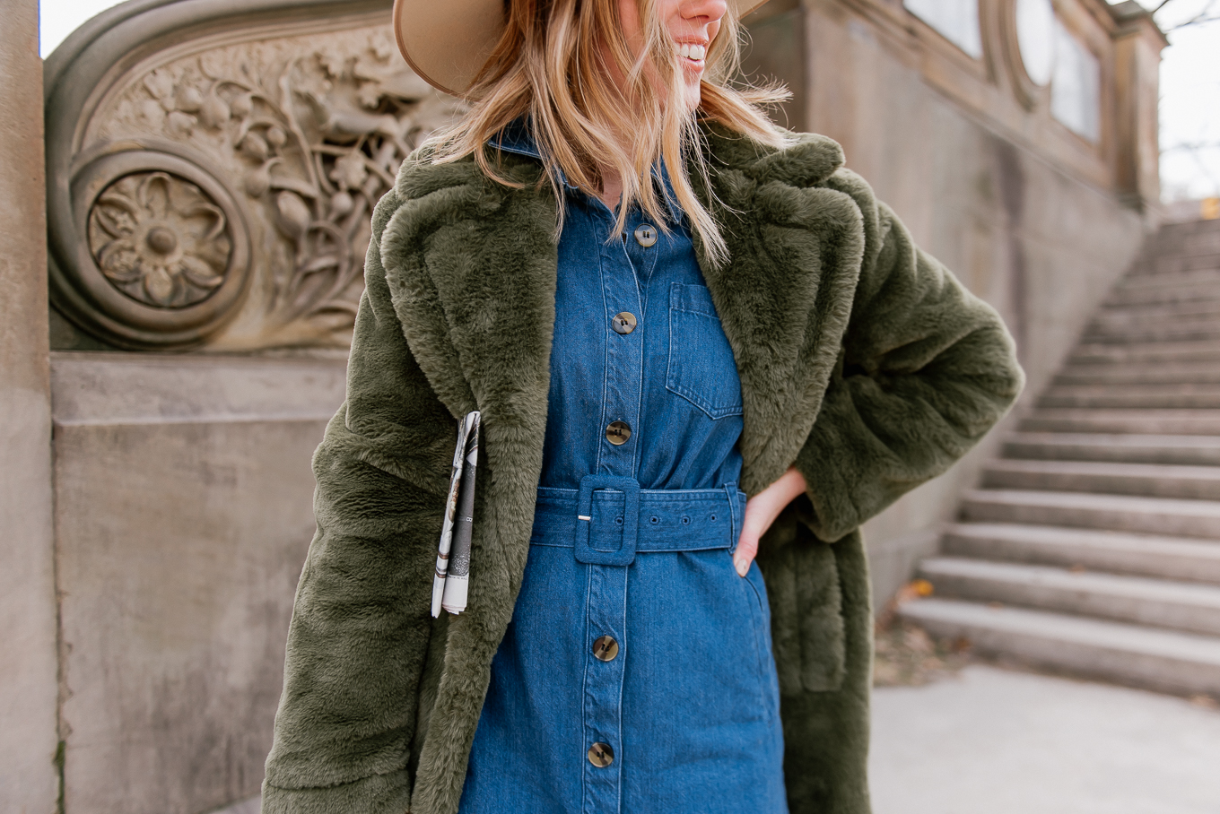 Green Faux Fur Coat - Louella Reese