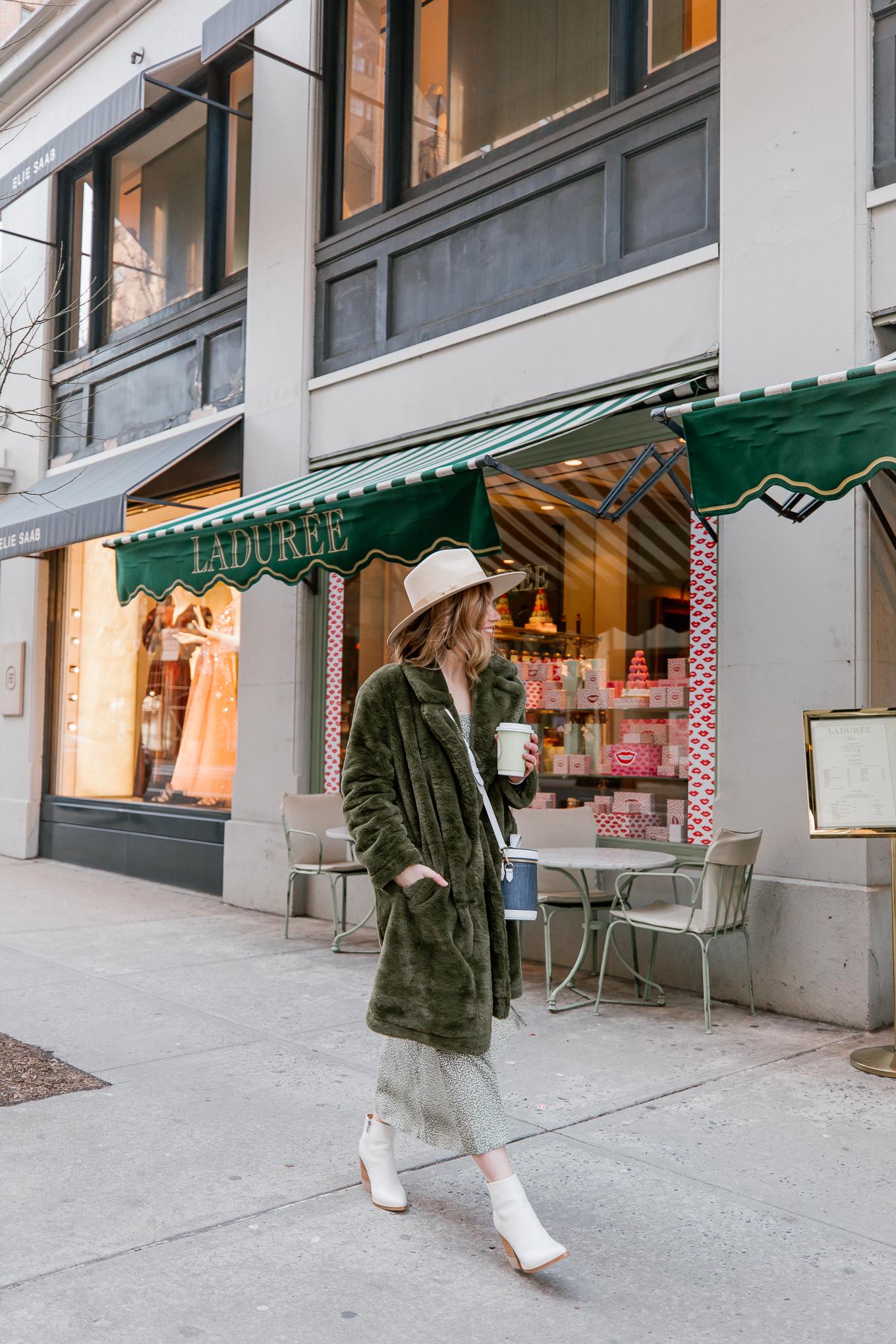 Faux Fur Coat, Green Floral Dress   Louella Reese