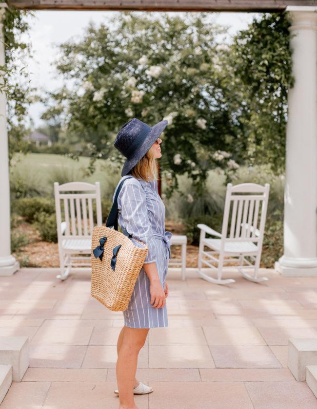 Warm Weather Wardrobe Basics, Wardrobe Essentials   Navy Straw Hat, Wide Leg Chinos, White Leather Sandals   Louella Reese