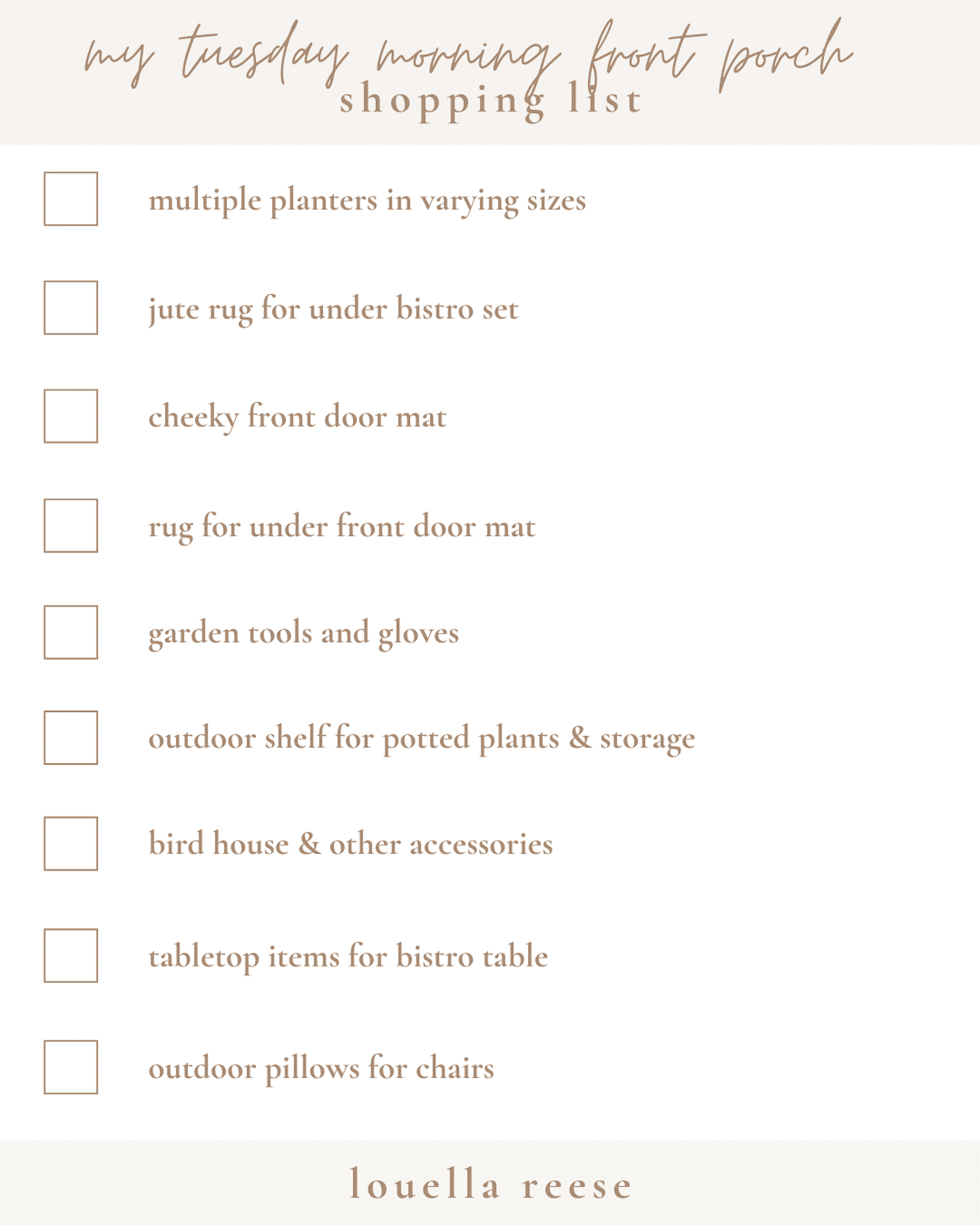 Front Porch Decor Shopping List | Everything You Need to Decorate Your Front Porch | Louella Reese