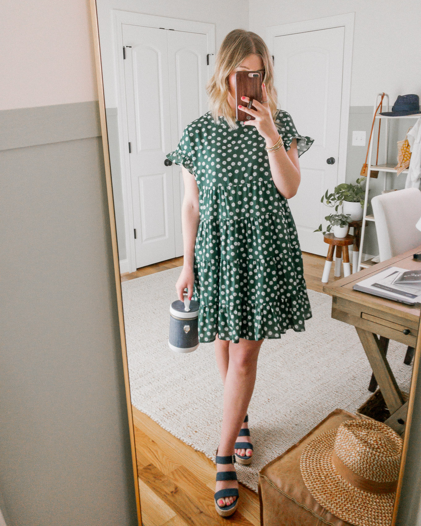 Spring and Summer Dresses on a Budget | Green Floral Mini Dress, Swing Dress | Louella Reese
