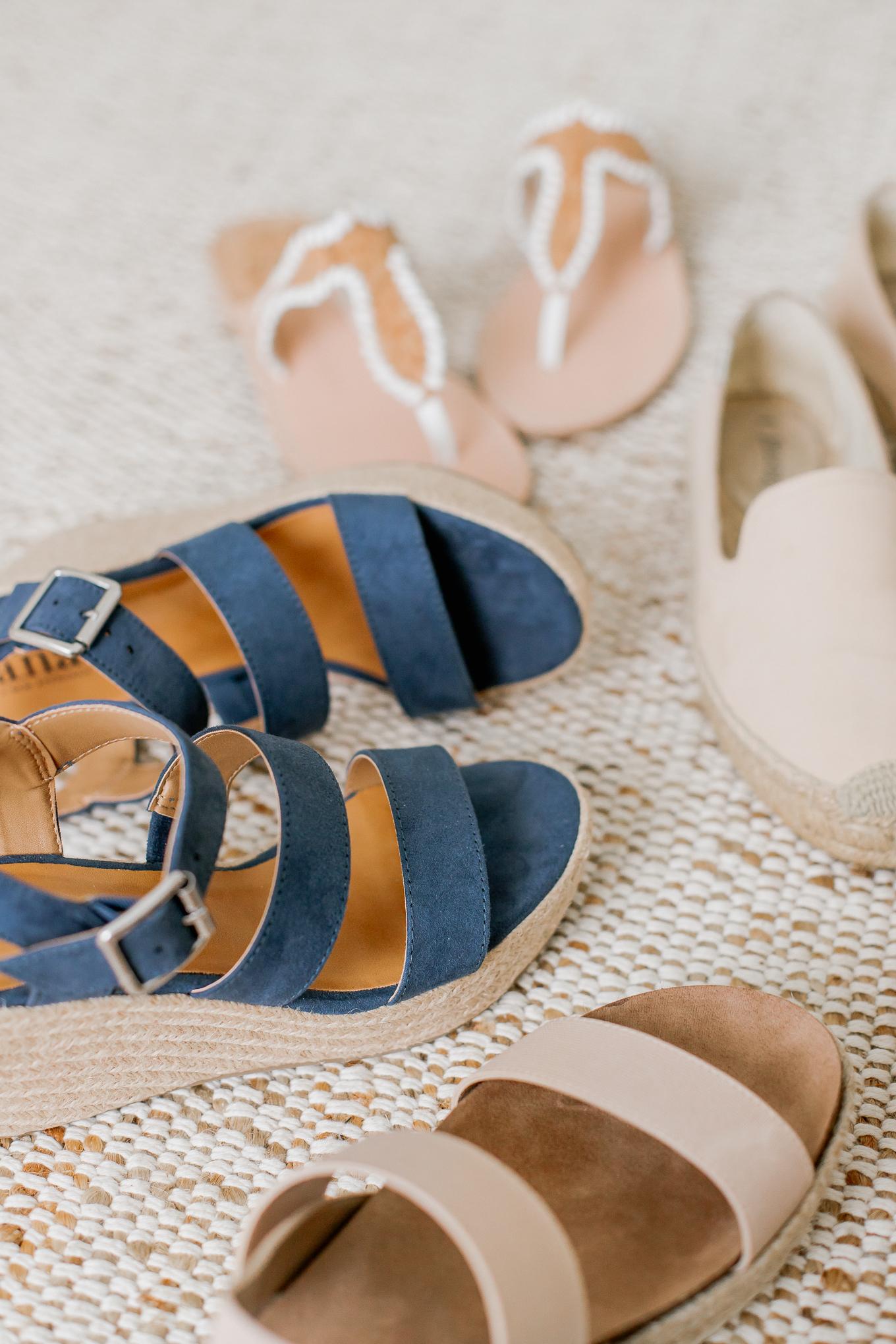Blue Espadrille Wedges, Jack Rogers Jackie Sandals, Neutral Spring Shoes   Louella Reese