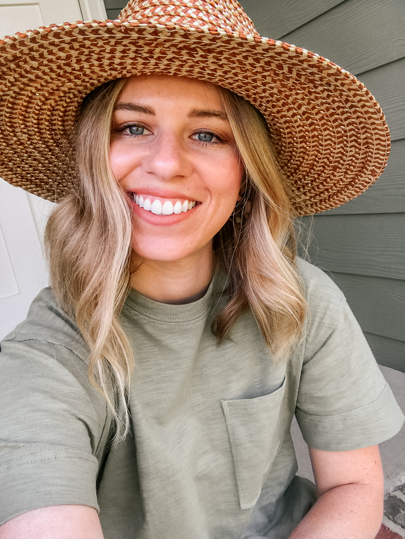 Recent Looks May 2020 | Straw Hat under $50, Olive Tee Shirt Dress | Louella Reese