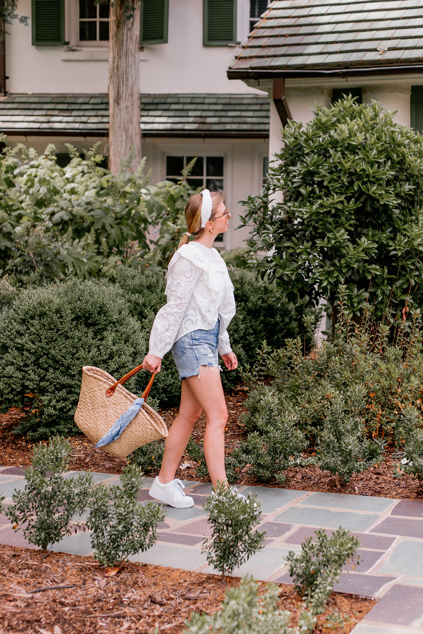 Recent Looks May 2020 | Casual Summer Style - Eyelet Top, Denim Cutoff Shorts | Louella Reese