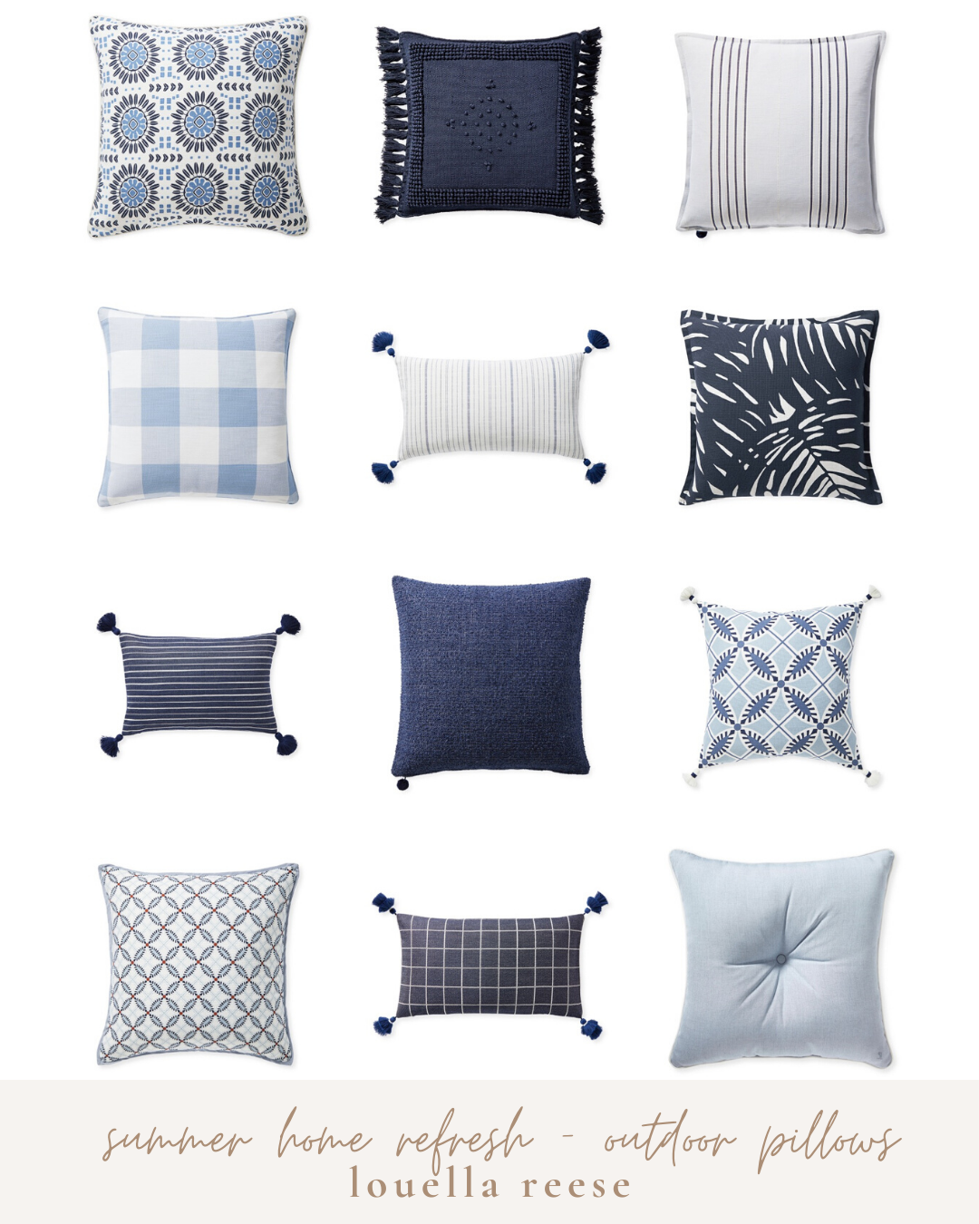 Outdoor Pillows | Blue and White Outdoor Pillows | Louella Reese