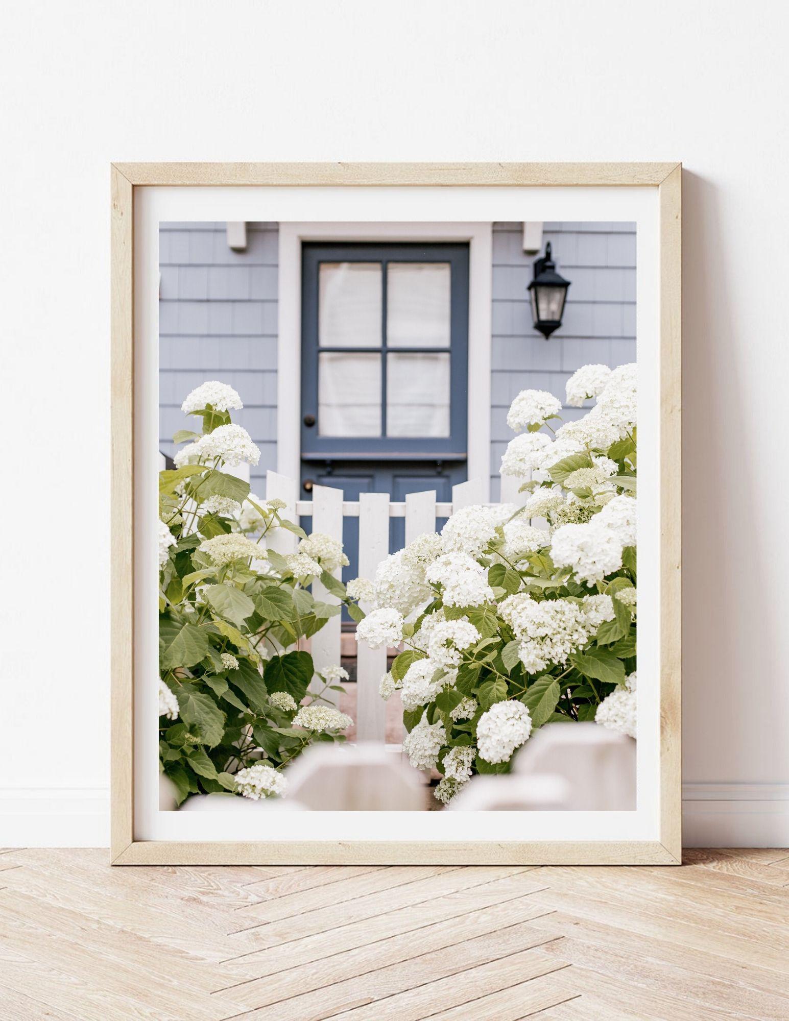 Louella Reese Etsy Shop | Wall Art, Gallery Wall Prints | White Hydrangea Print, Charming Cottage Print | Louella Reese