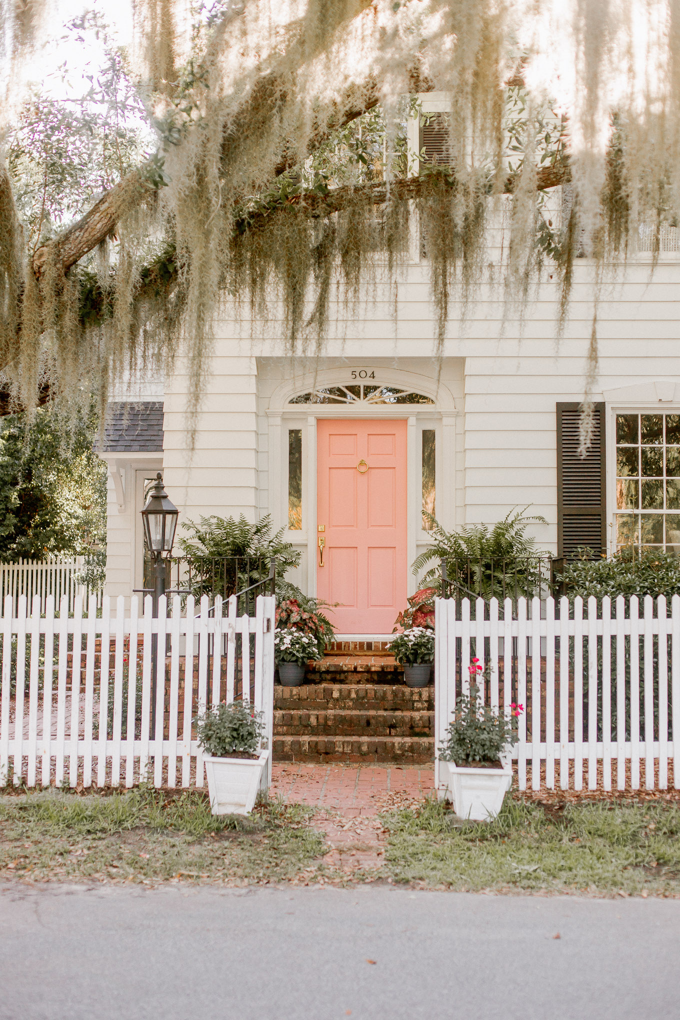 Charming Southern Home, Pink Front Door   Louella Reese