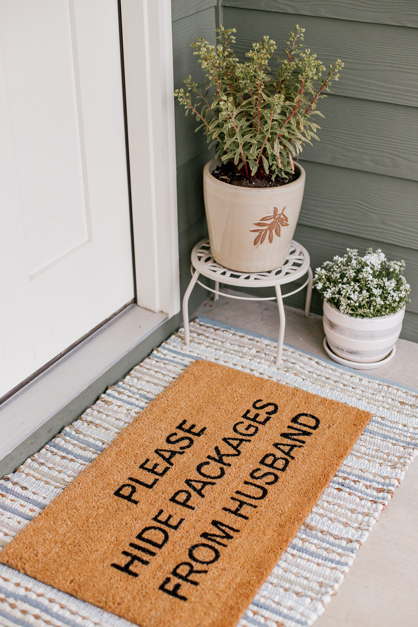 Please Hide Packages from my Husband Front Door Mat | Louella Reese