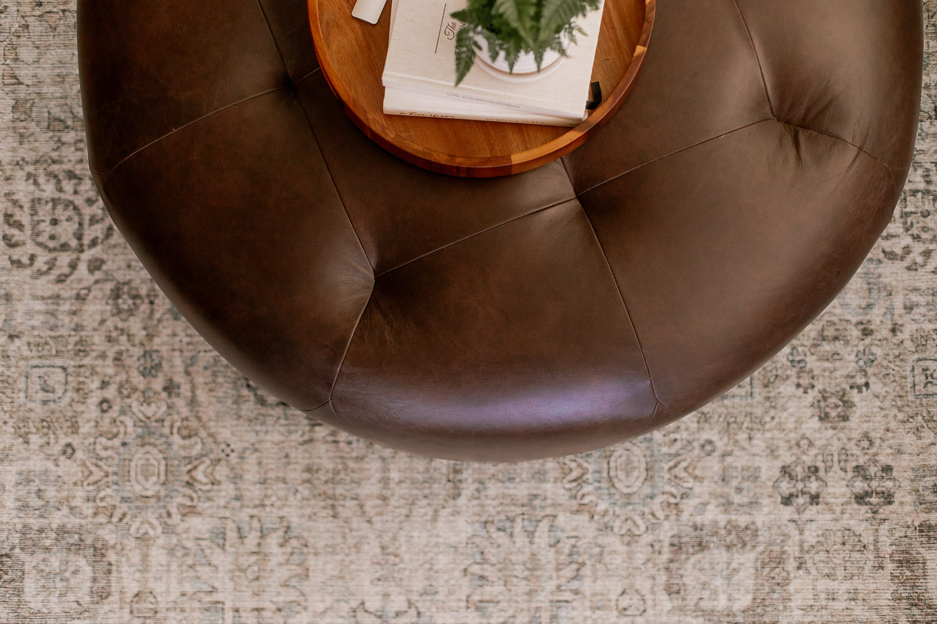 Searching for the Perfect Coffee Table - Article Timpani Ottoman Review | Round Leather Ottoman | Louella Reese, North Carolina Lifestyle and Fashion Blog