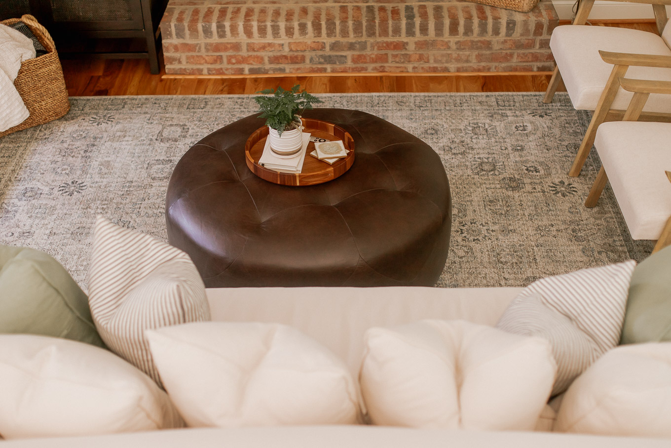 Round Leather Ottoman | Searching for the Perfect Coffee Table - Article Timpani Ottoman Review - Louella Reese, North Carolina Lifestyle and Fashion Blog