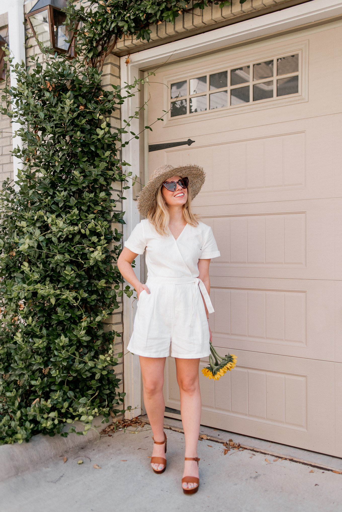Recent Looks July 2020 | White Linen Romper under $100, Casual Summer Style | Louella Reese