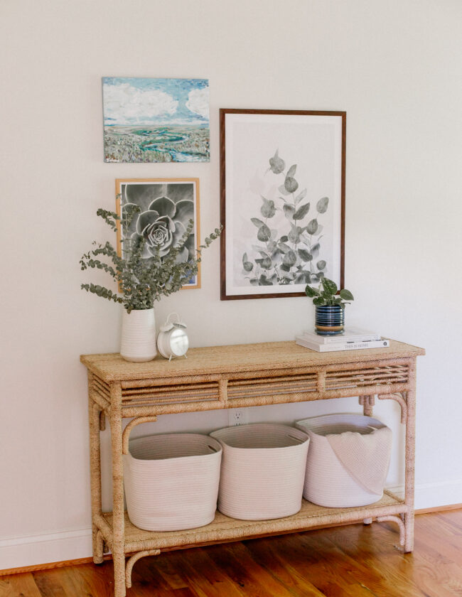 Tips for Styling a Bedroom Console Table | Braided Rope Console Table | Cottage Style | Louella Reese