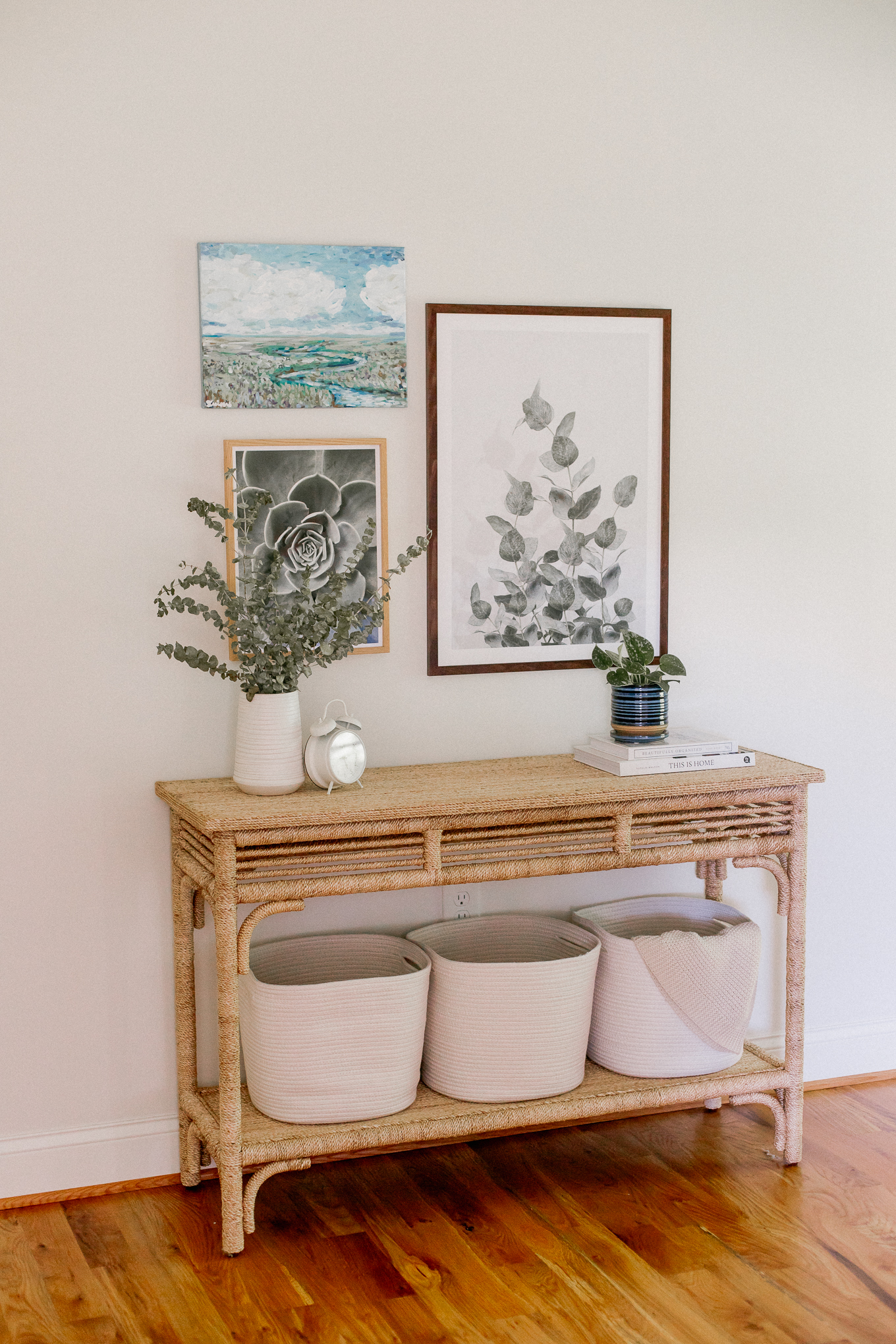 Tips for Styling a Bedroom Console Table   Braided Rope Console Table   Cottage Style   Louella Reese