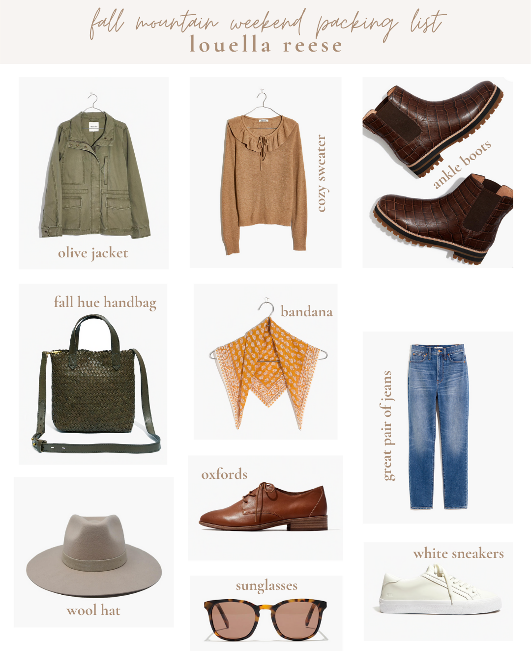 Fall Mountain Weekend Packing List | Lifestyle | Louella Reese