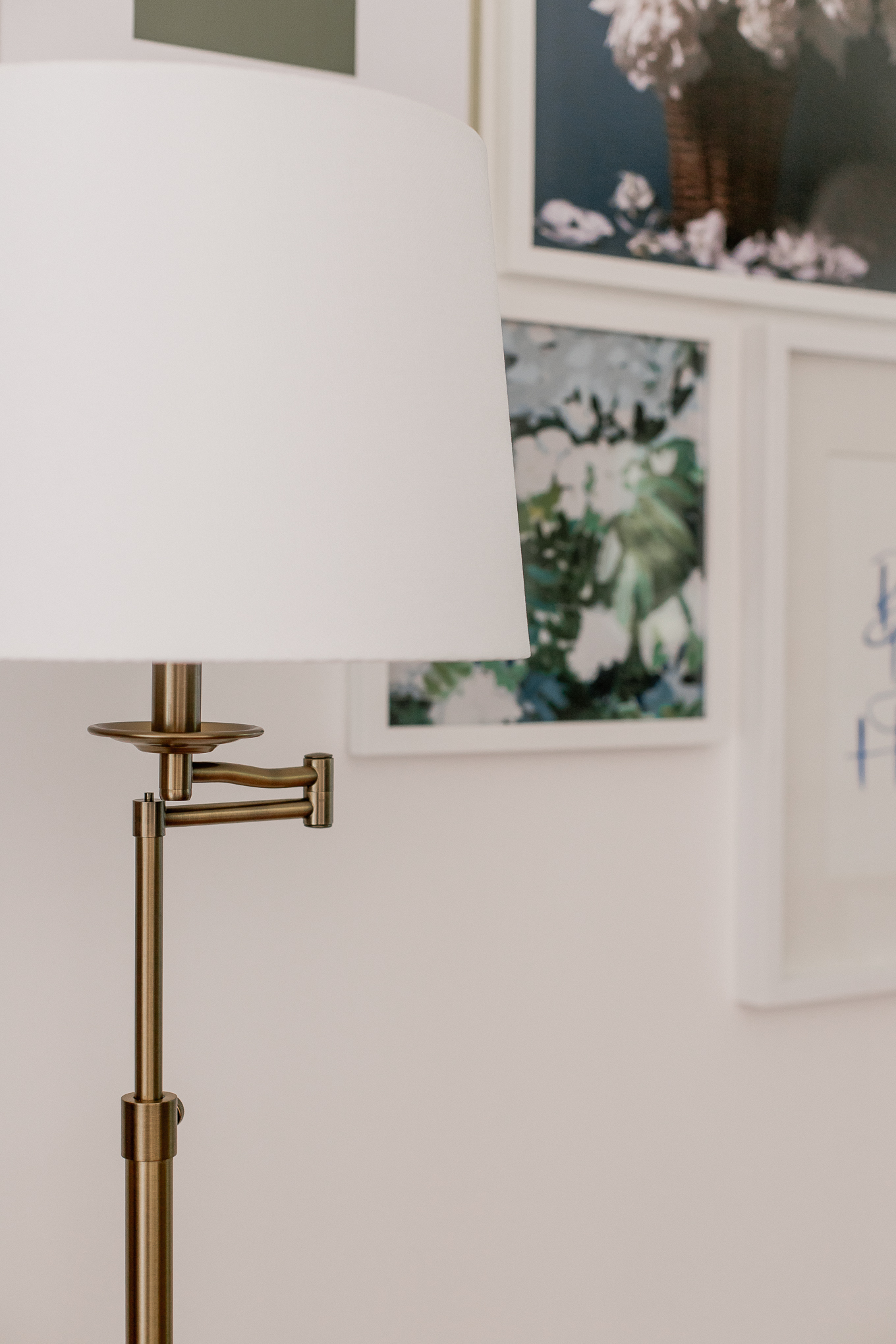 Antique Brass Swing Arm Floor Lamp | Beautiful Vintage Inspired Floor Lamp | Louella Reese