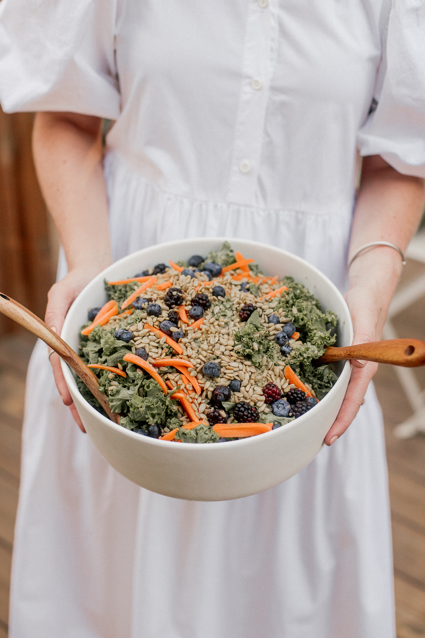 Kale Salad with Quiona, Fresh Fruit, and Vegetables | Farmer's Market Menu | Louella Reese
