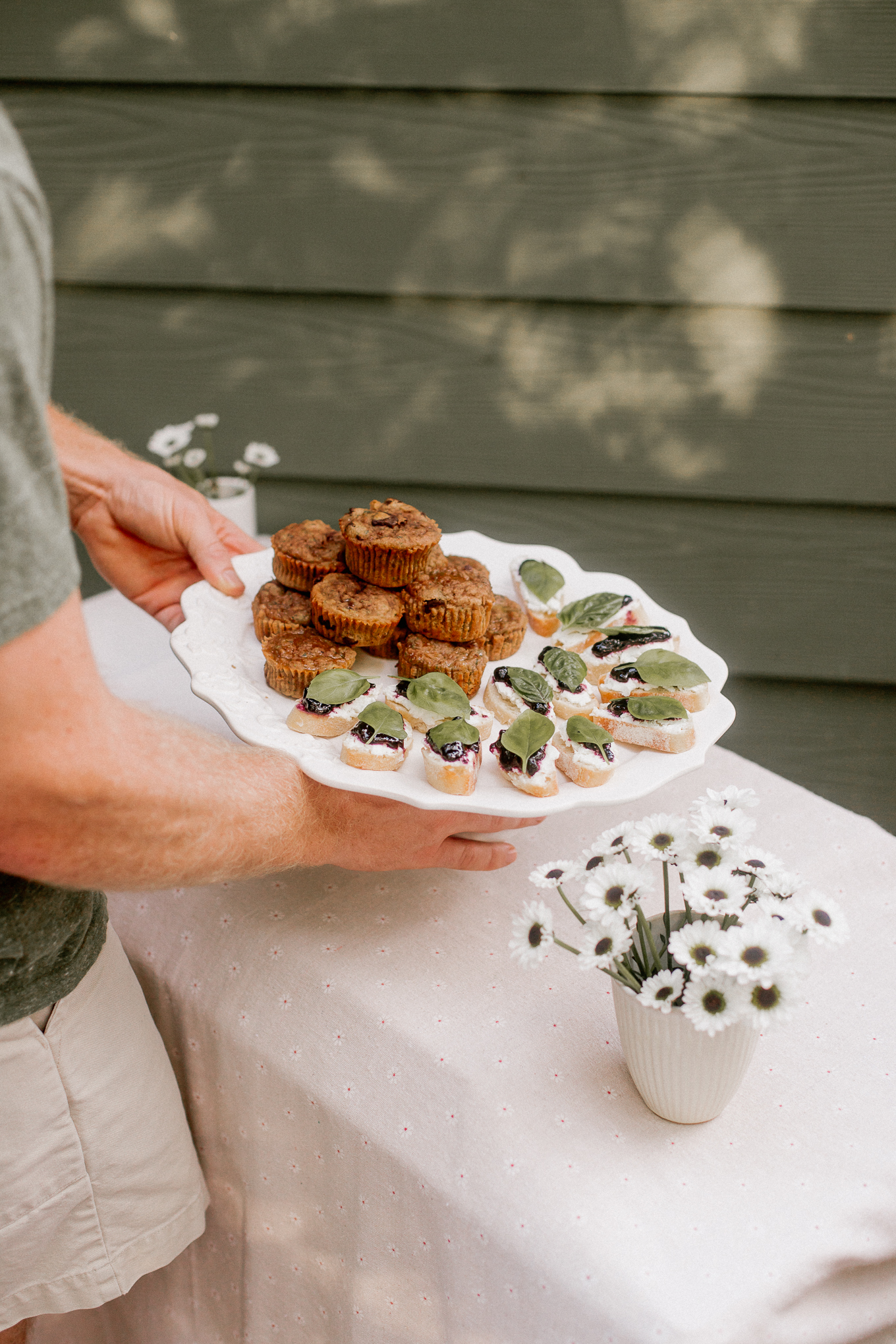 Zucchini Bread Muffins, Blueberry Jam Crostini's | Farmer's Market Menu | Louella Reese