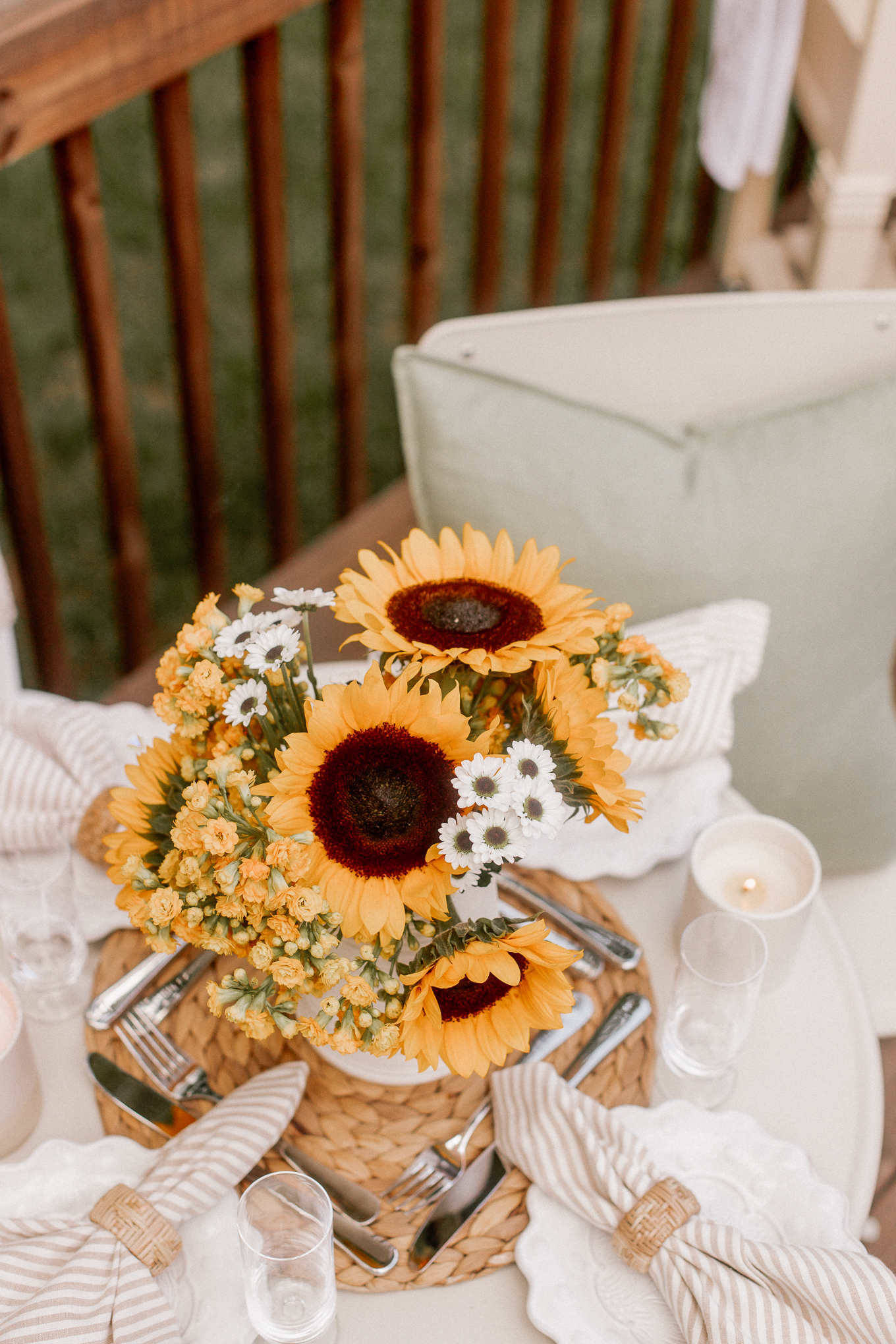 Neutral Tablescape with Sunflowers | Fall Floral Arrangement | Louella Reese