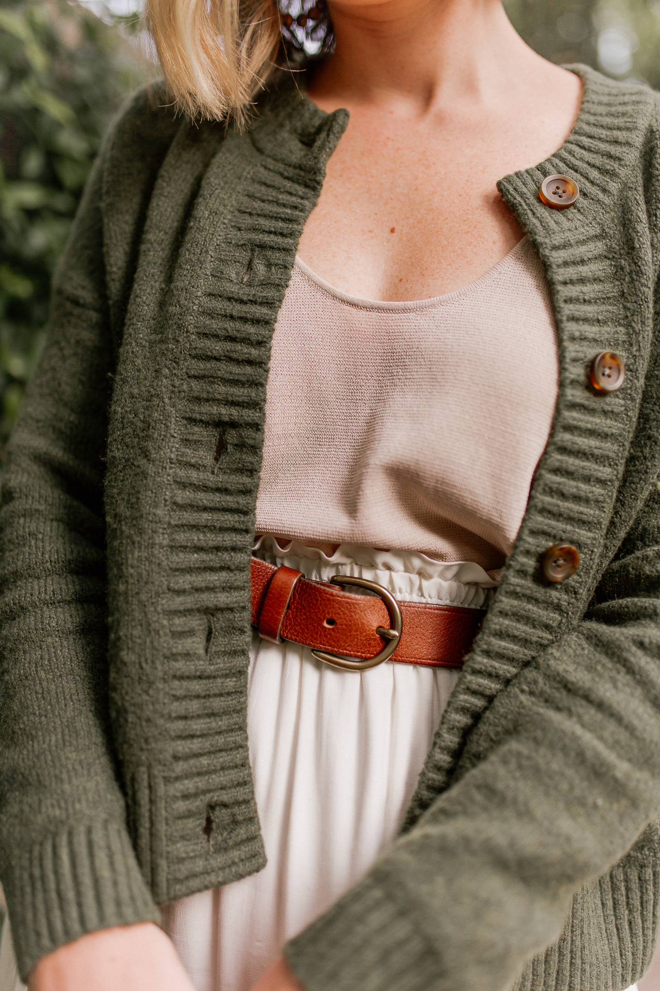 green pieces to shop for fall | green cardigan sweater
