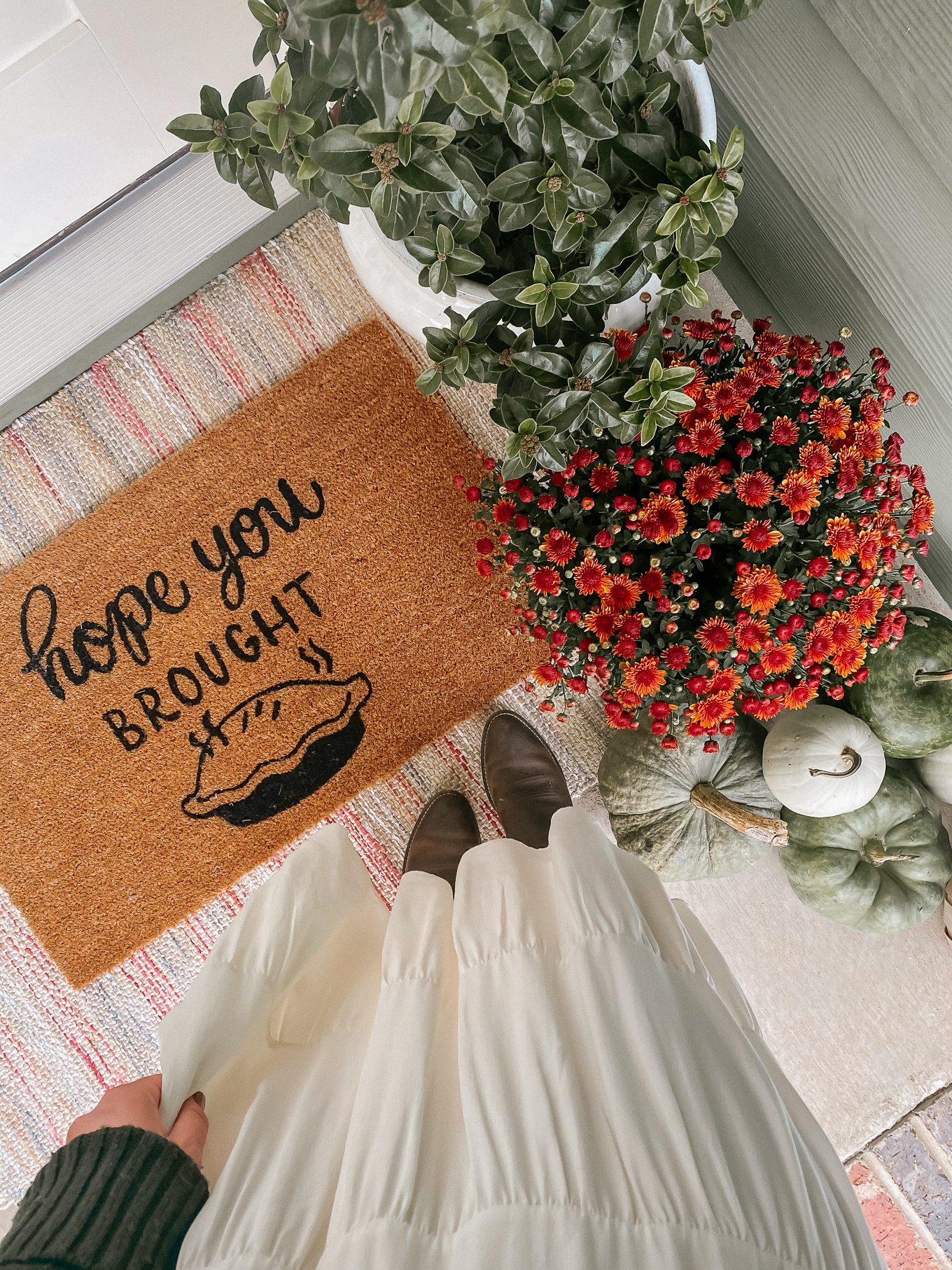 Fall front porch essentials | Front Door Mat, Hope Your Brought Pie Mat | Louella Reese