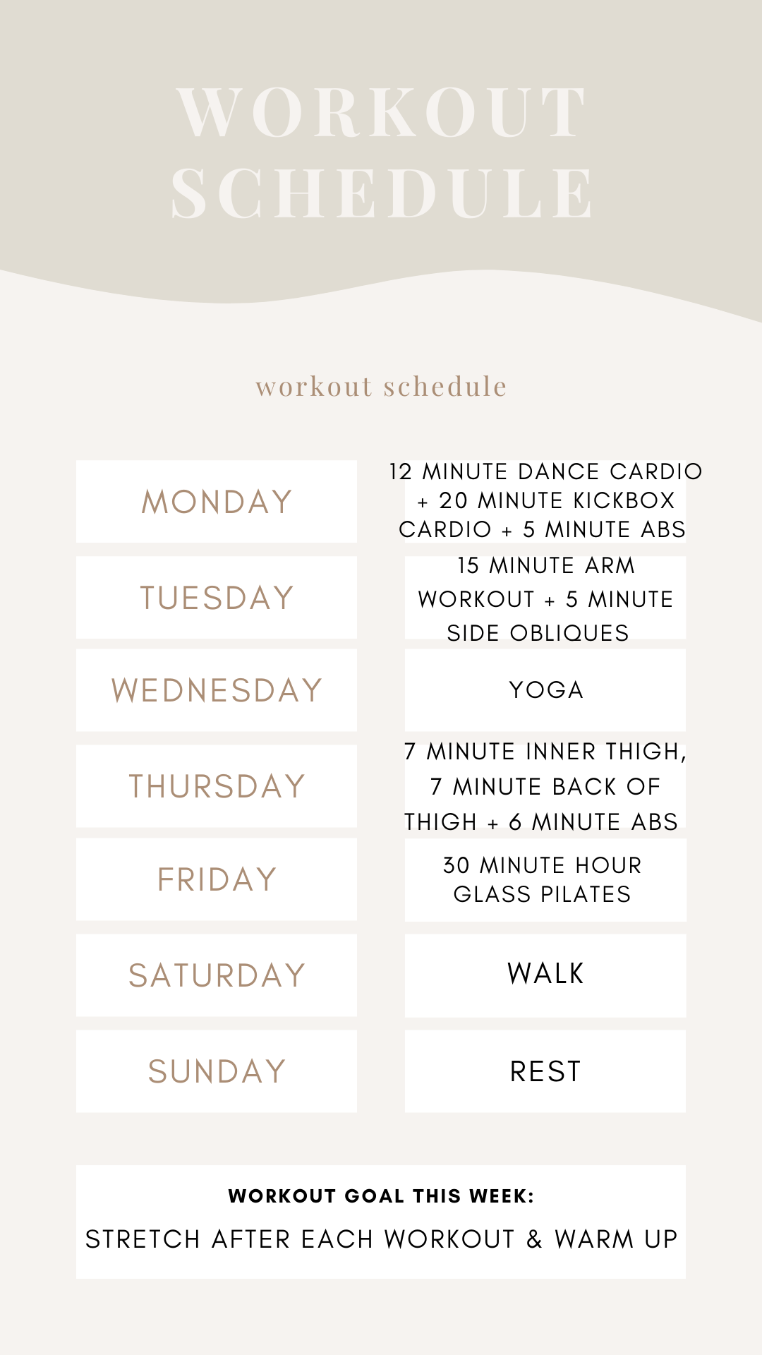 Week Workout Schedule - At Home Workouts | Louella Reese