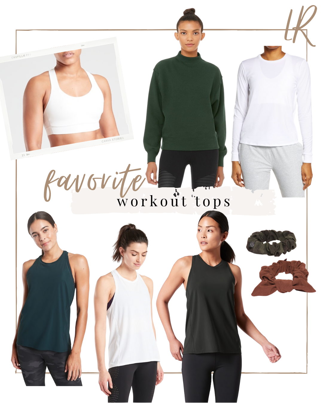 Favorite Workout Tops - tanks, sweatshirt, long sleeve tops and athletic scrunchies | lifestyle | Louella Reese