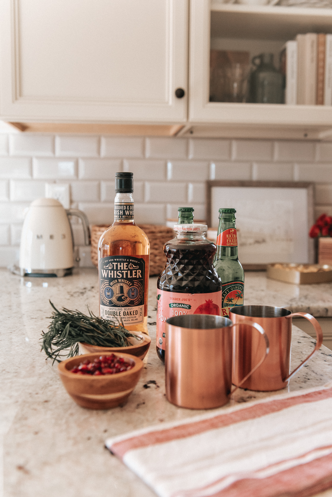 ingredients for a pomegranate whiskey mule | cocktail recipe | louella Reese