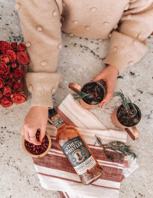 Pomegranate Whiskey Mule Recipe | cocktail recipe | Louella Reese